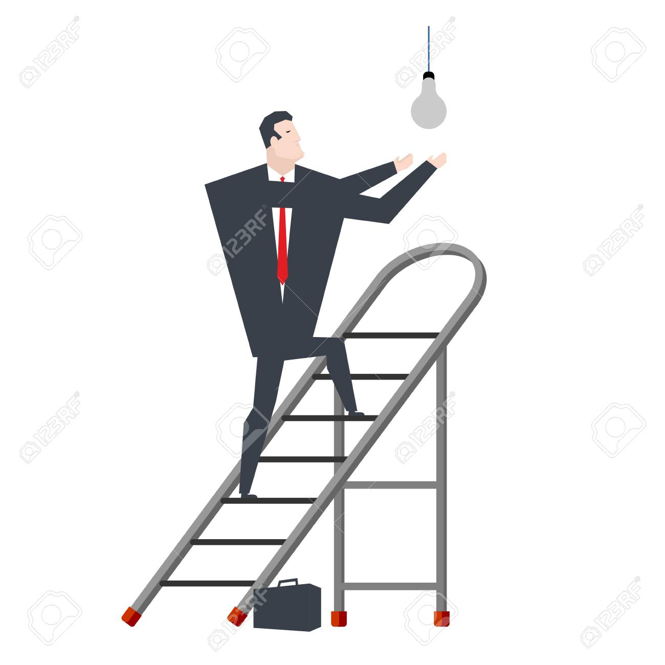 Businessman On Stepladder Changing Light Bulb Royalty Free Cliparts Wiring A Stock Vector 97046946