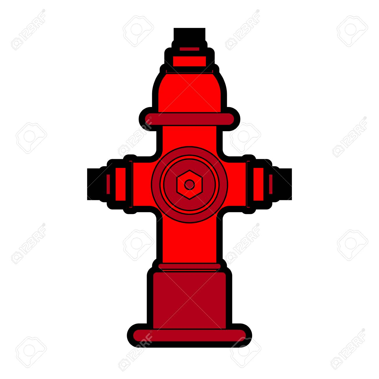 Fire Hydrant Isolated Red Fireplug Vector Illustration Royalty Free