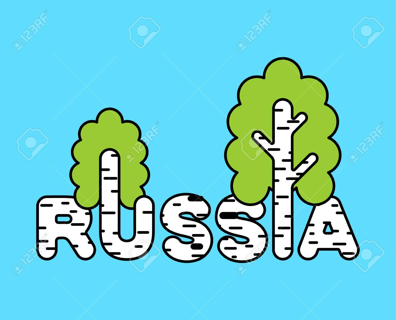 Russia Logo Letters And Birch National Russian Tree Vector