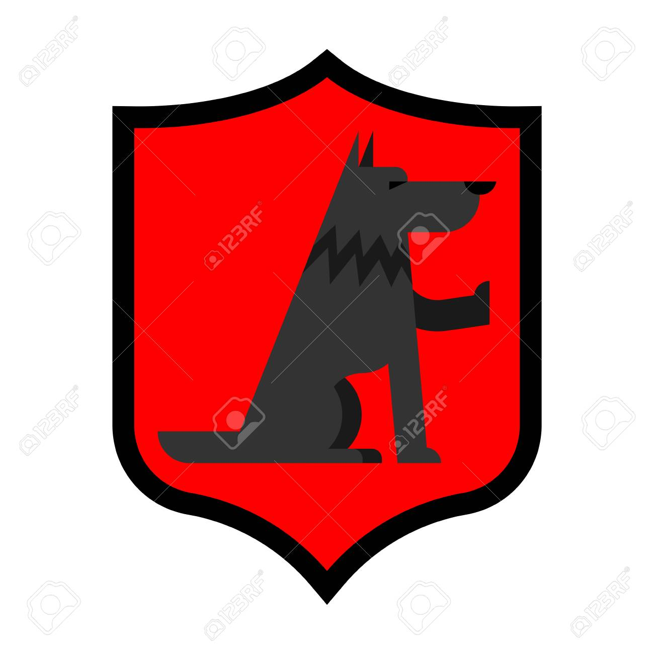 6ffcb6a16 Vector - Wolf Shield heraldic symbol. Sign werewolf for coat of arms. Royal  Forest predator. Vector illustration