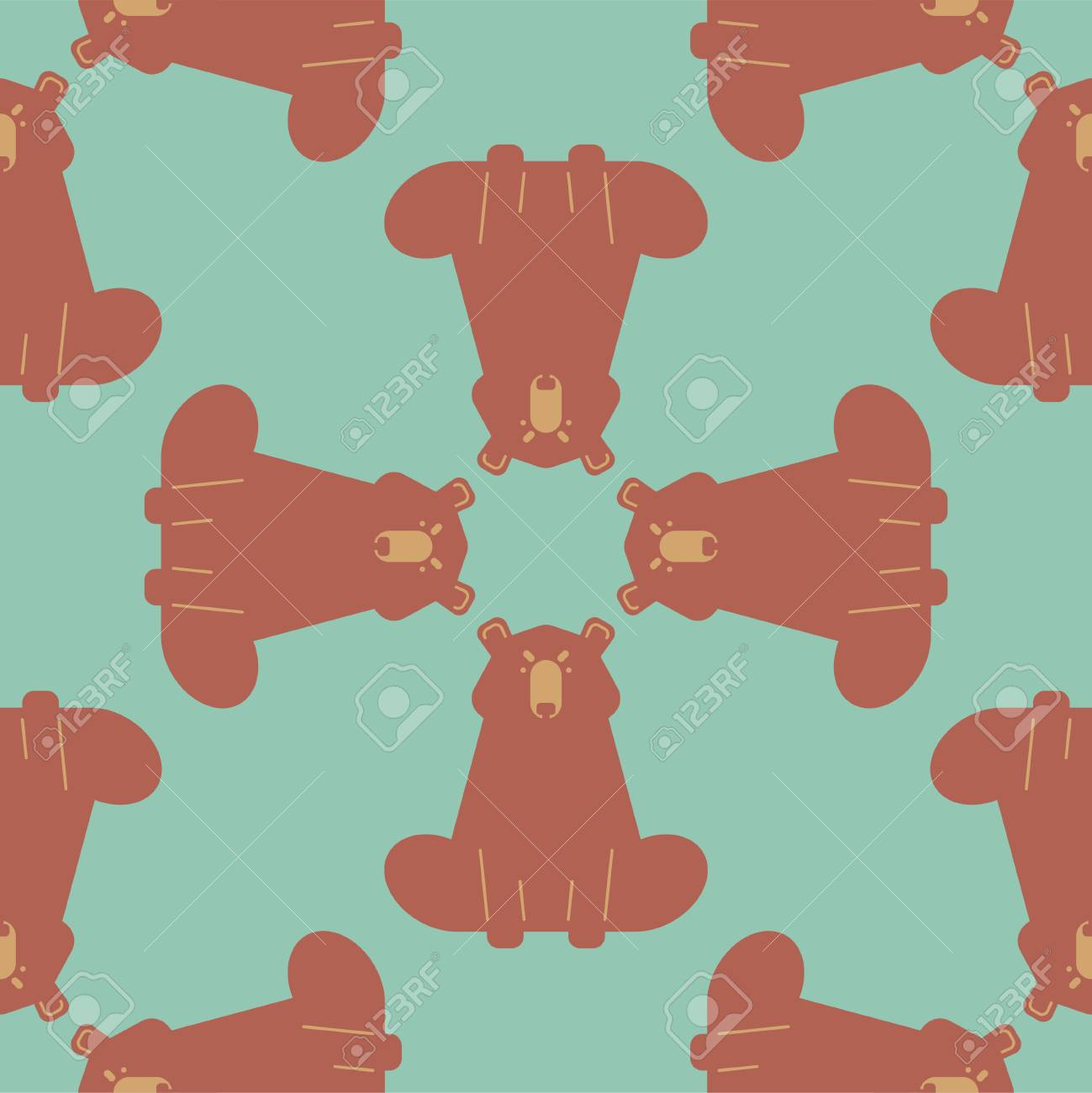 Bear Pattern Seamless Grizzly Ornament Wild Predator Background