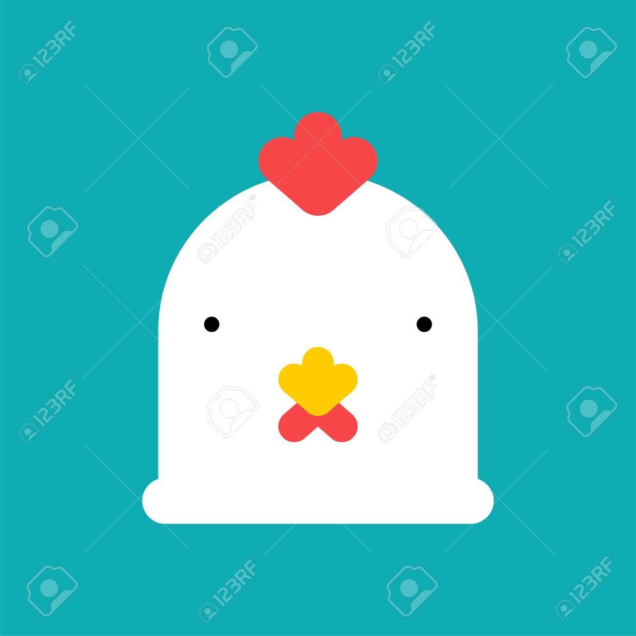 Chicken Head Mask White Farm Bird Face Vector Illustration Stock