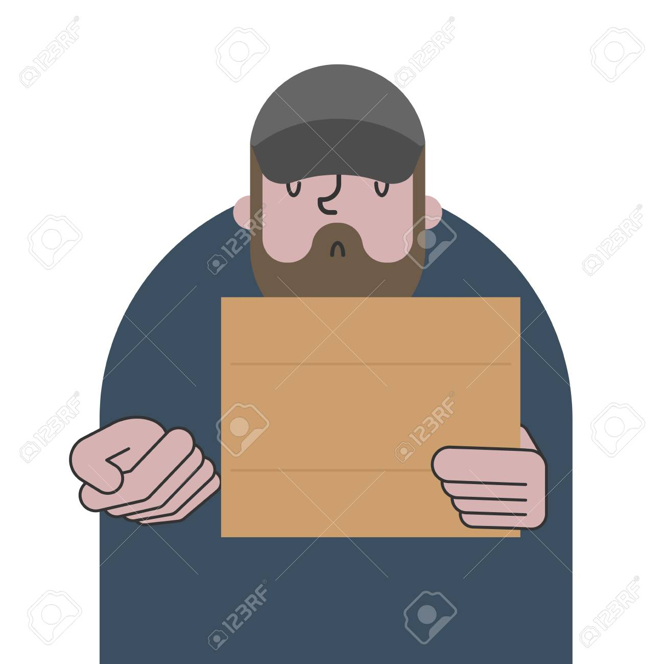 Homeless and cardboard. Beggars and blank plate, Poor. bum hobo Vector illustration - 112320981