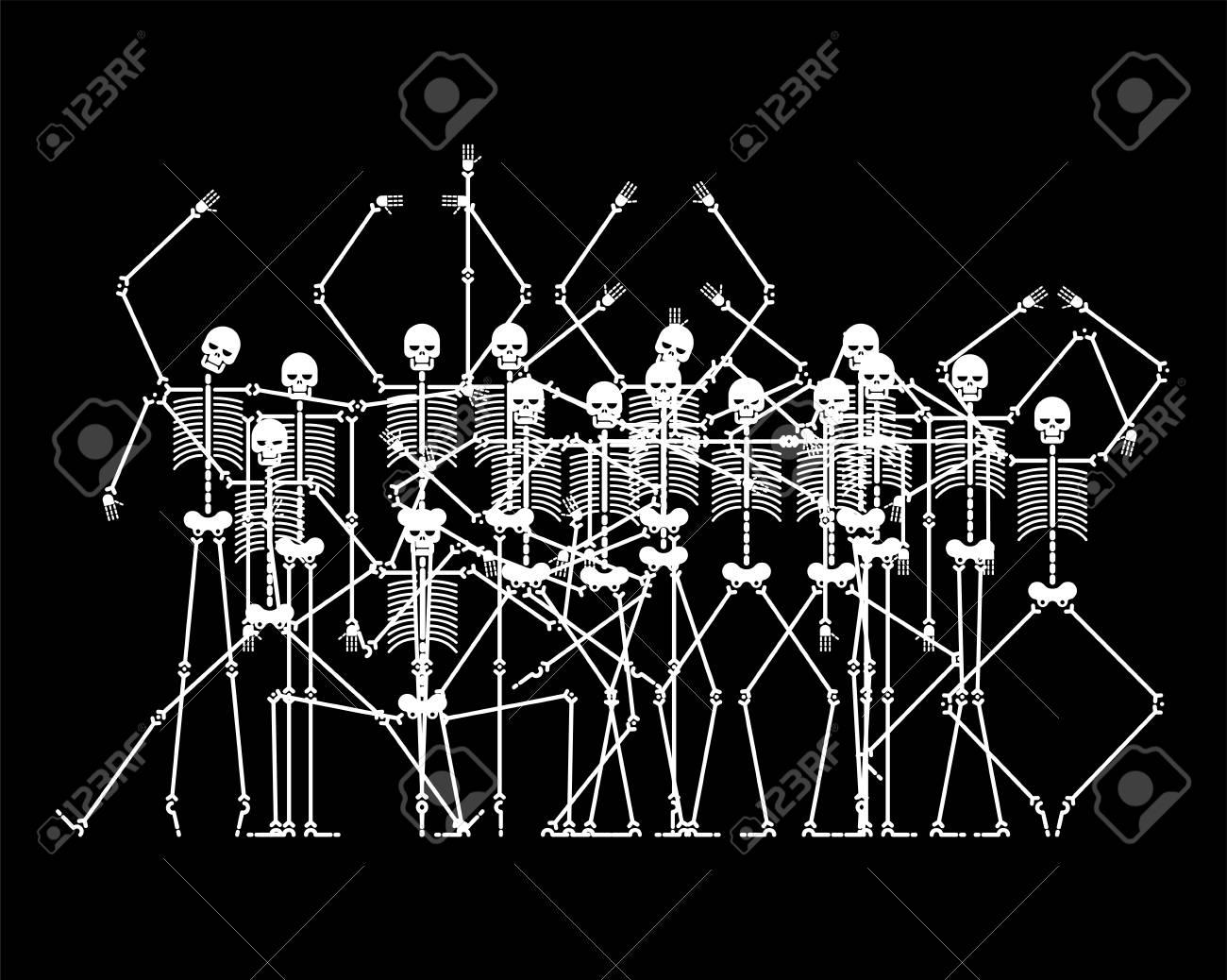 Skeletons in Hell. Sinners skeleton crowd. vector illustration - 107486010