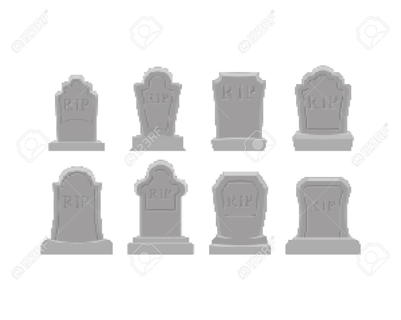 Grave pixel art set. Tomb 8 bit. Gravestone Halloween. RIP Cemetery vector illustration - 108749048