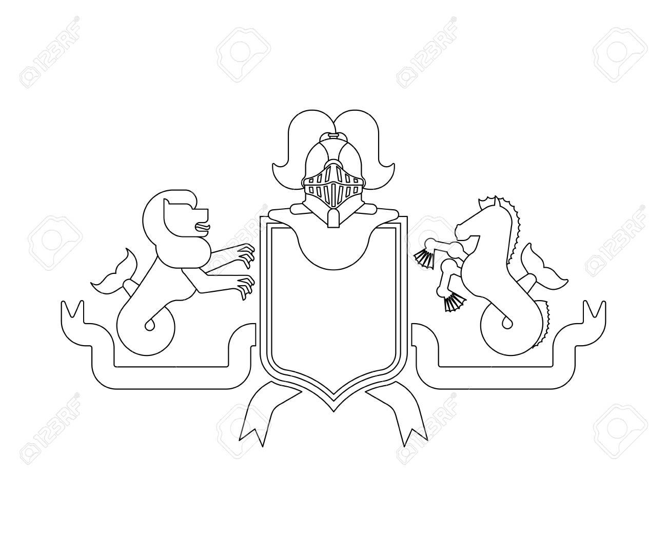 Heraldic Shield Sea Lion And Hippocampus Knight Helmet Fantastic Beasts Template Heraldry Design