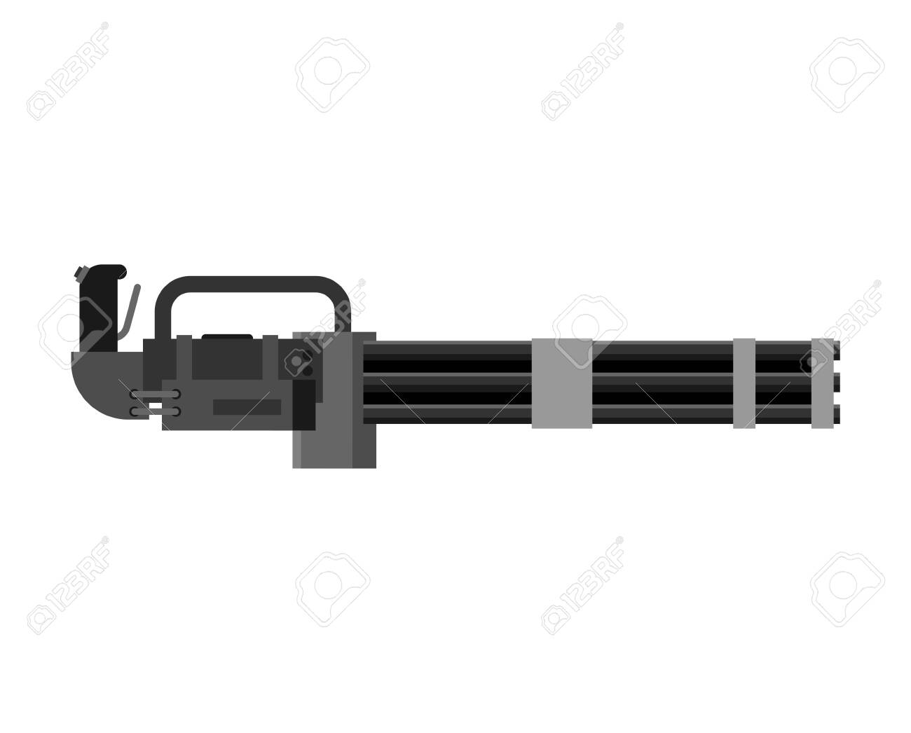Minigun Machine Gun Isolated Gattling Weapon Automatic