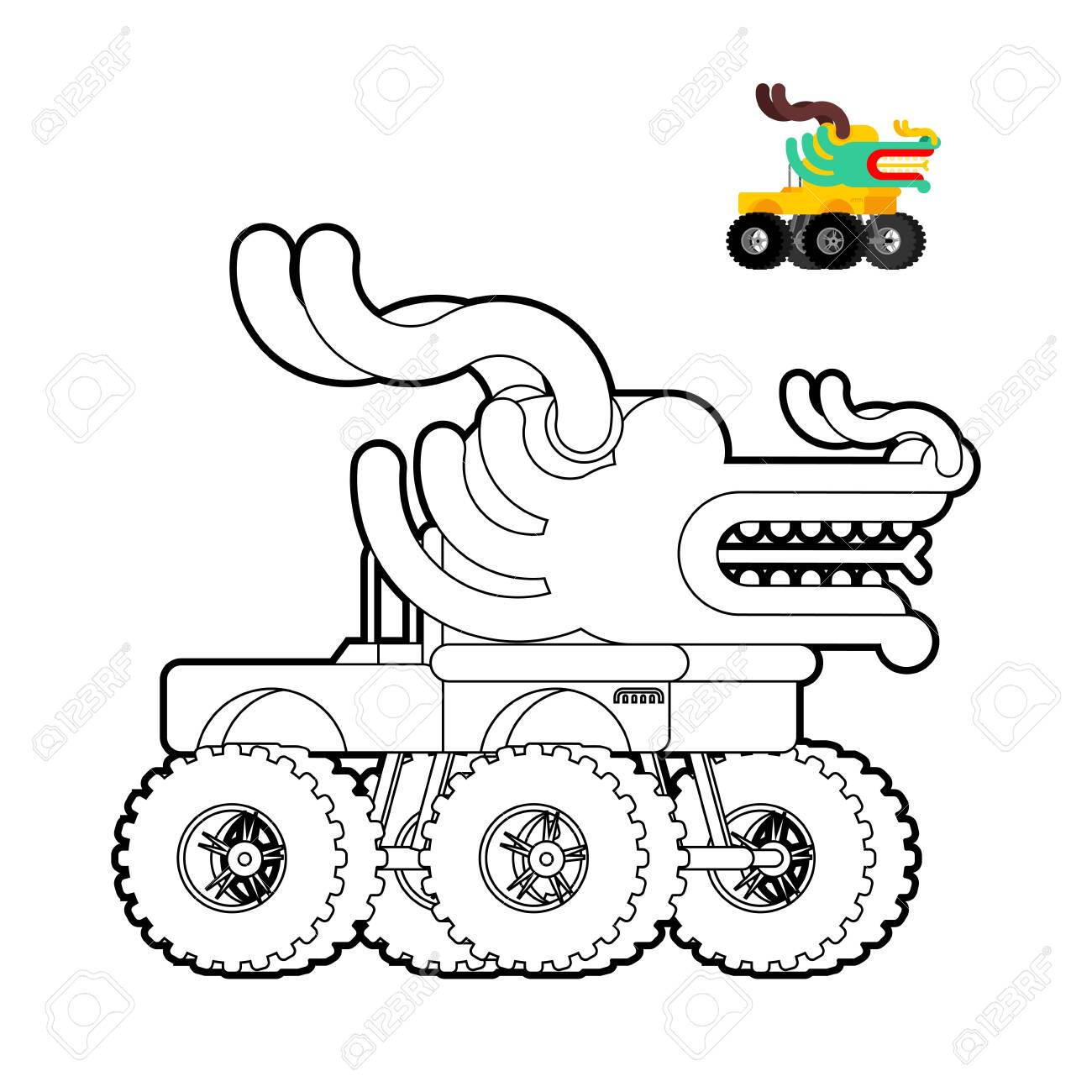 Monster Truck Dragon Coloring Book Animal Car On Big Wheels Royalty Free Cliparts Vectors And Stock Illustration Image 136754153