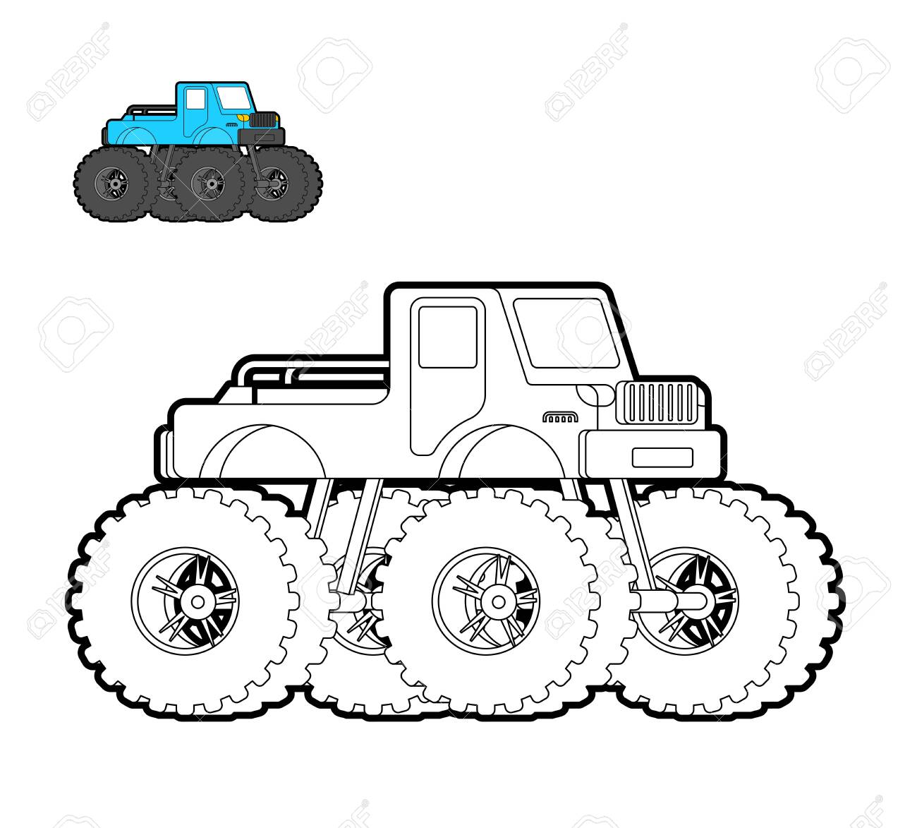 - Monster Truck Coloring Book. Car On Big Wheels. Vector