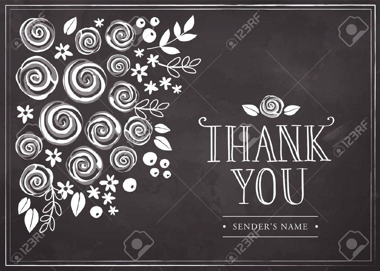 thank you card with floral background freehand drawing on a