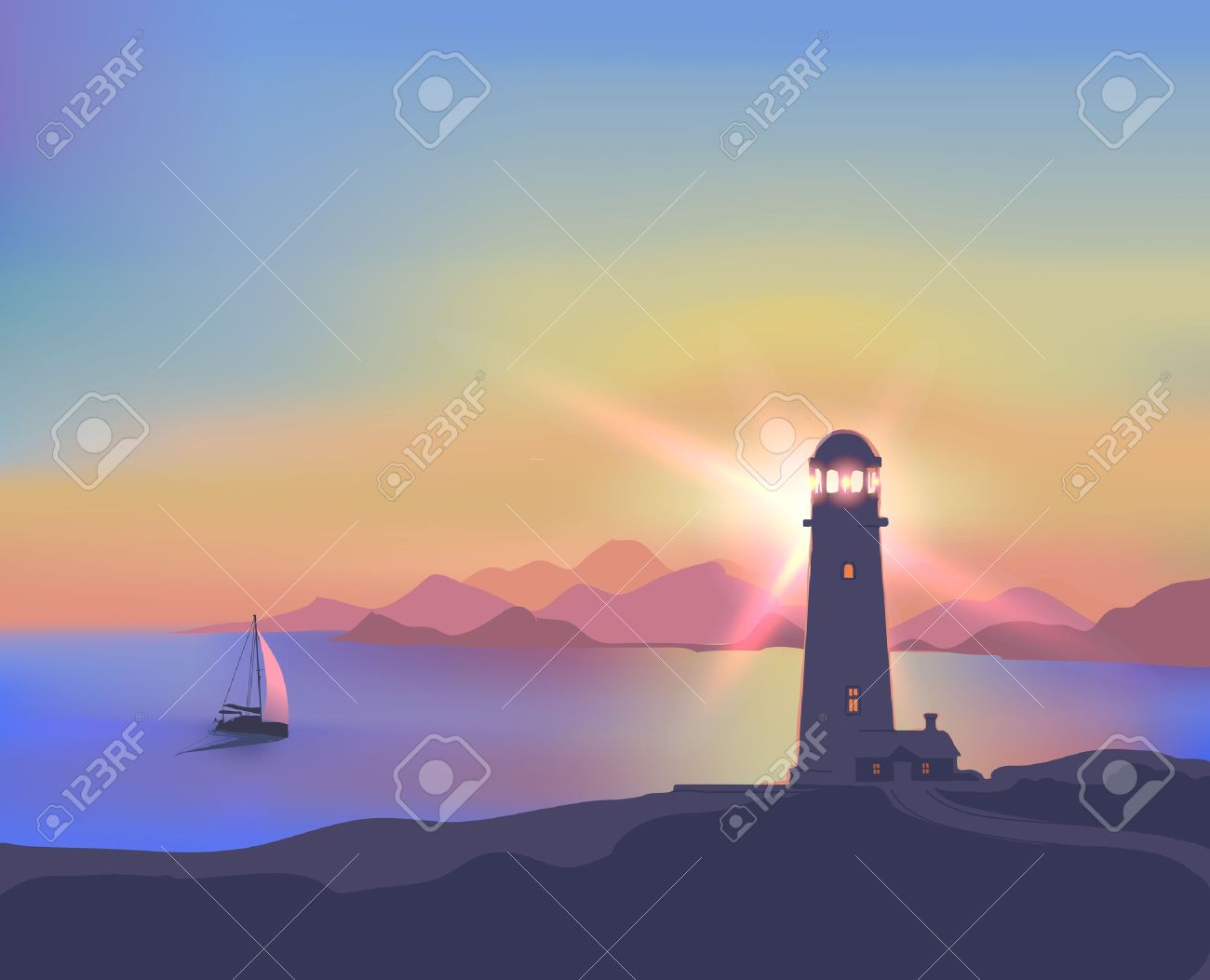 Card with a beautiful sunset, sea, lighthouse, ship, mountains - 29688078