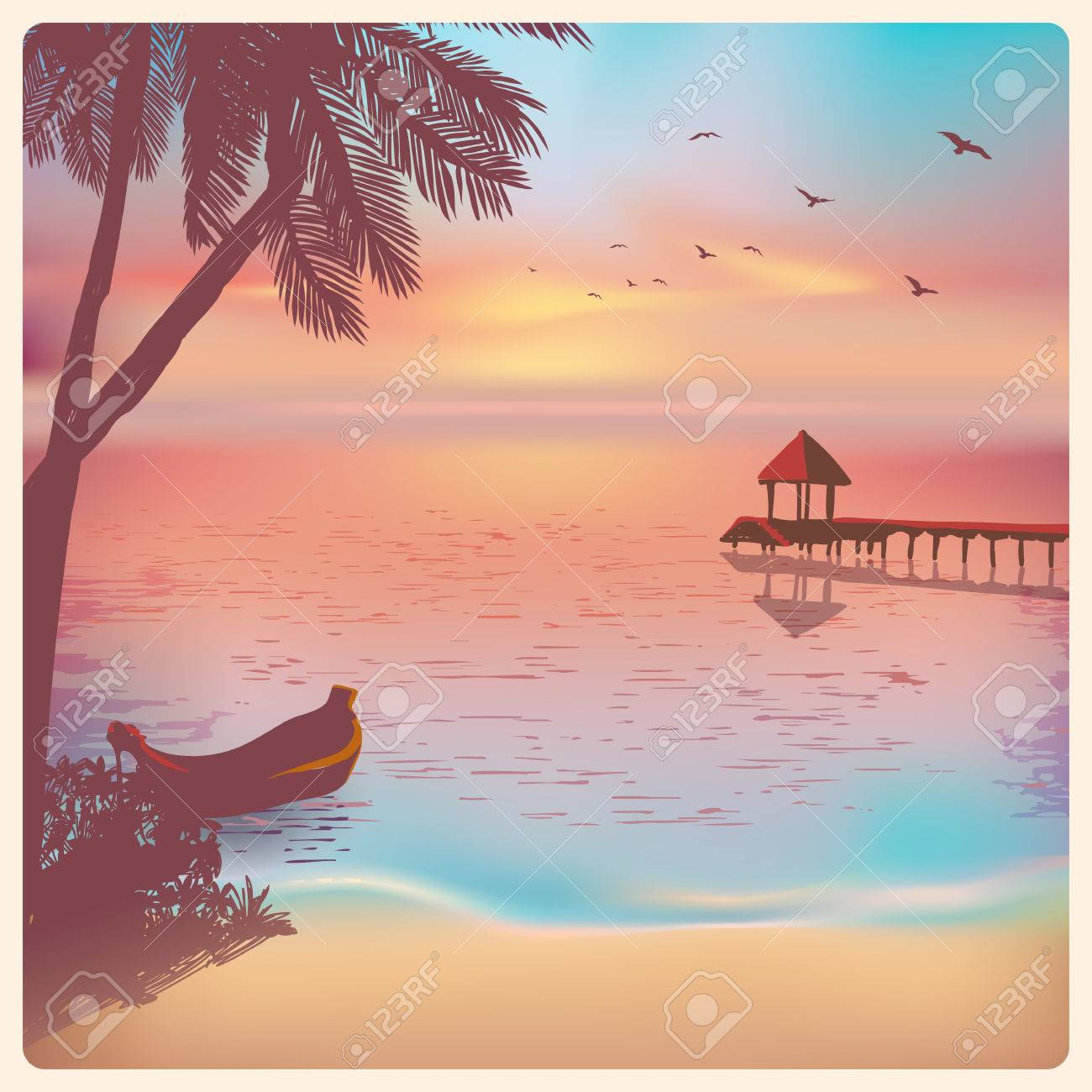 Vintage card with a beautiful sunset tropical beach - 29688084