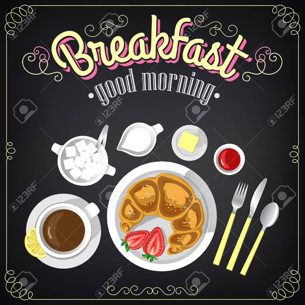 Vintage Poster Breakfast menu Croissant and coffee Set on the chalkboard for design in retro style - 30768755