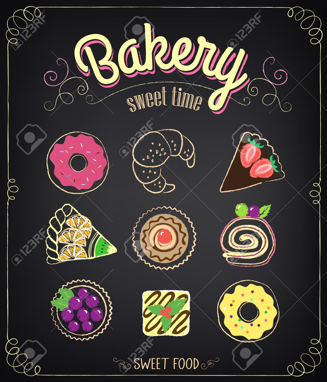 Sweet bakery menu set on a chalkboard for design in retro style sweet bakery menu set on a chalkboard for design in retro style chalk drawing thecheapjerseys Images