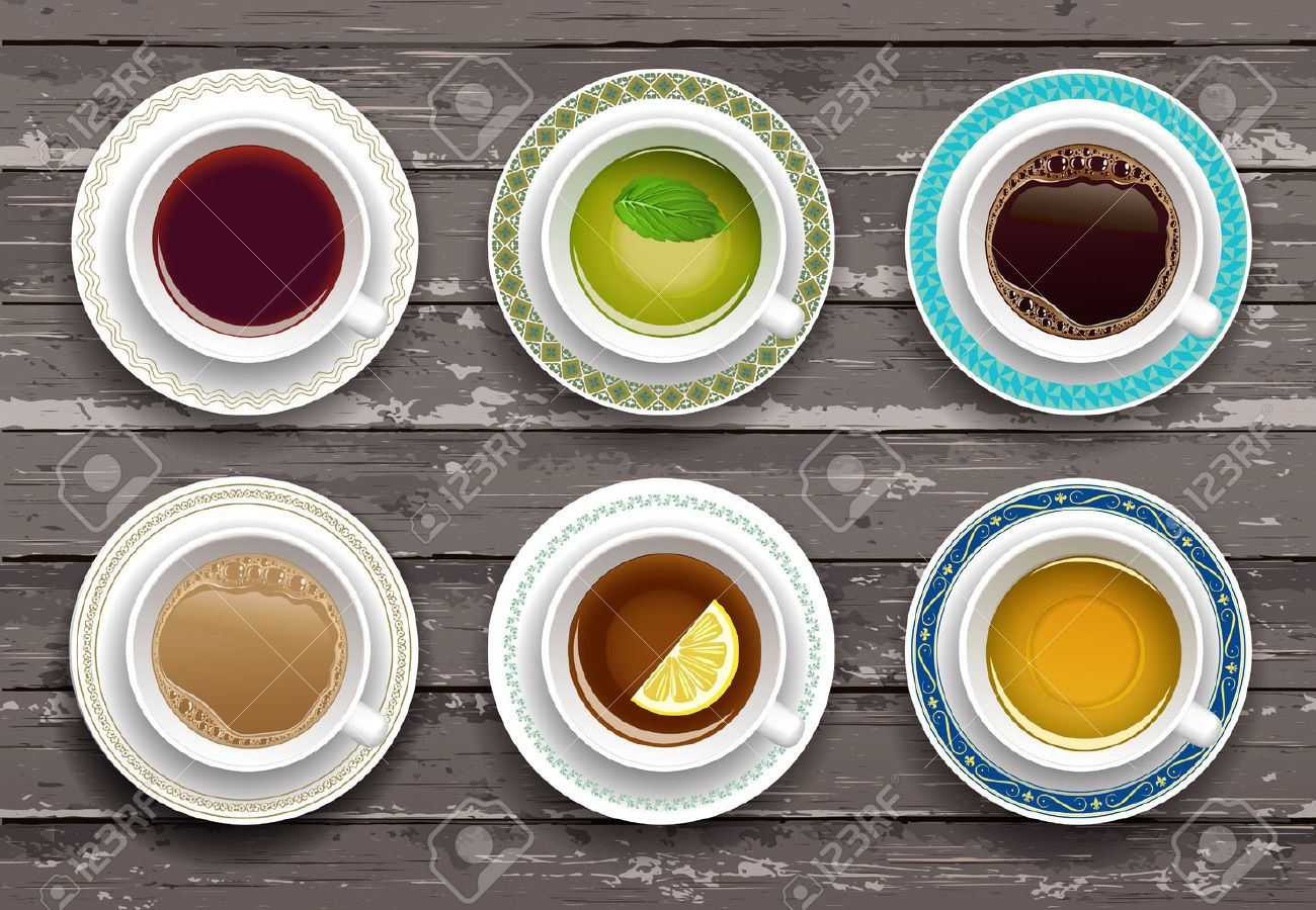 Vector illustration. Set of coffee and tea cups on a wooden table. Top view - 31617905