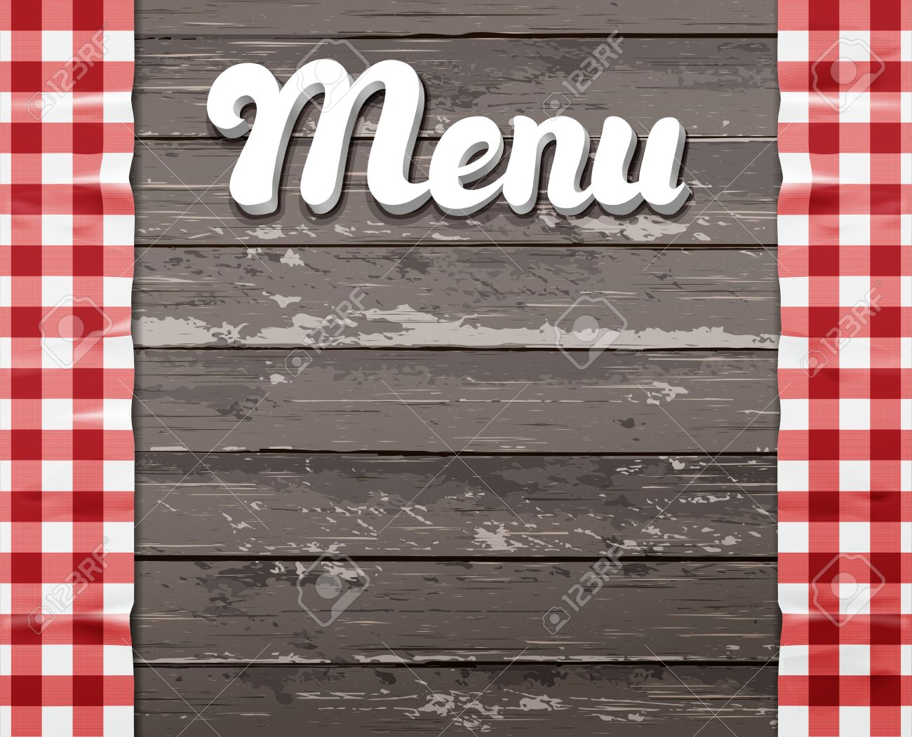 The Word Menu On A Wooden Background With The Tablecloth Royalty ...
