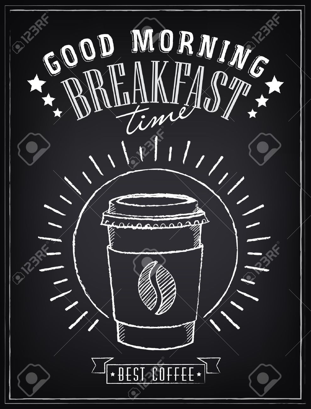 Vintage Poster. ?offee. Freehand drawing on the chalkboard - 35083481