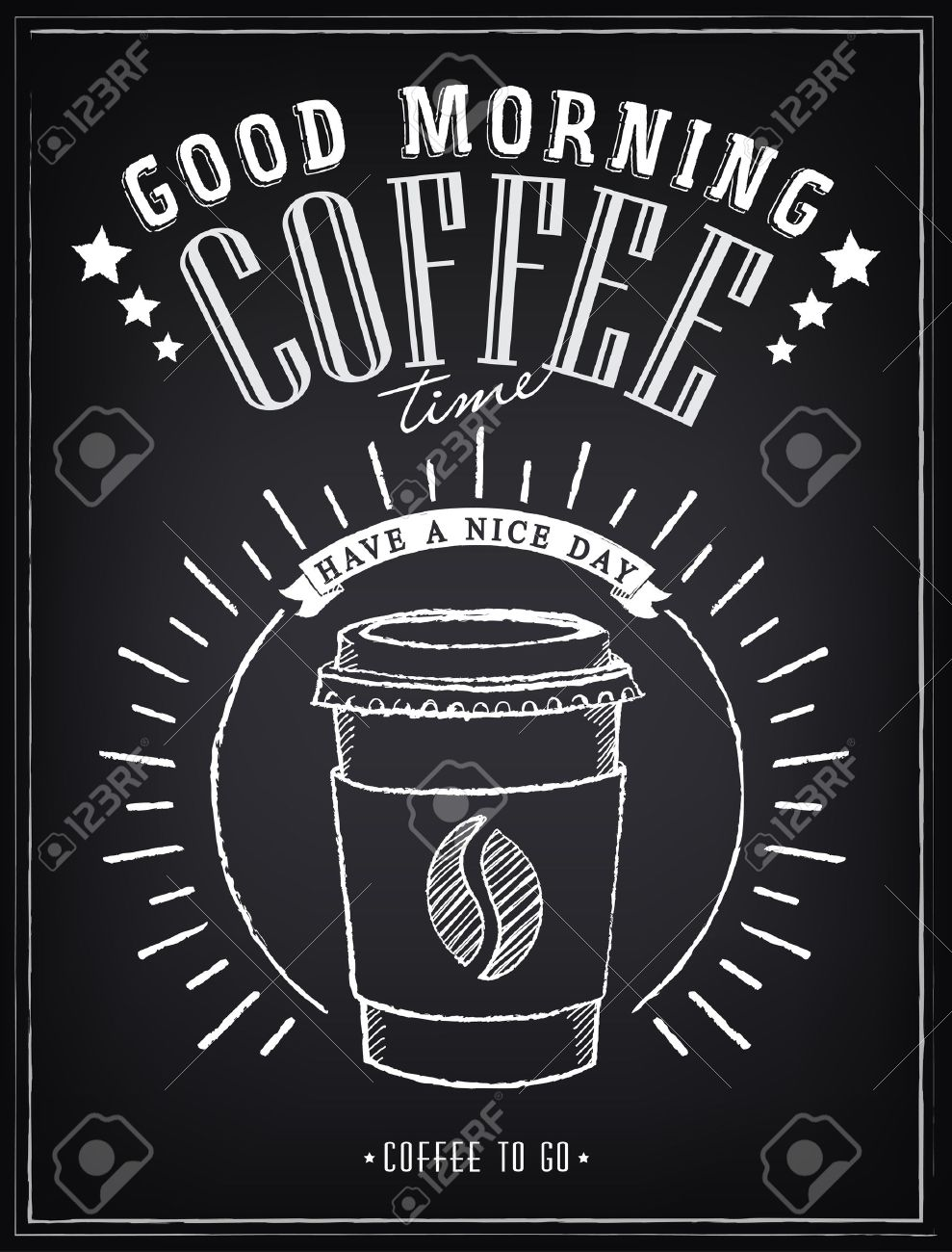 Vintage Poster - Coffee, Freehand drawing on the chalkboard - 35180431