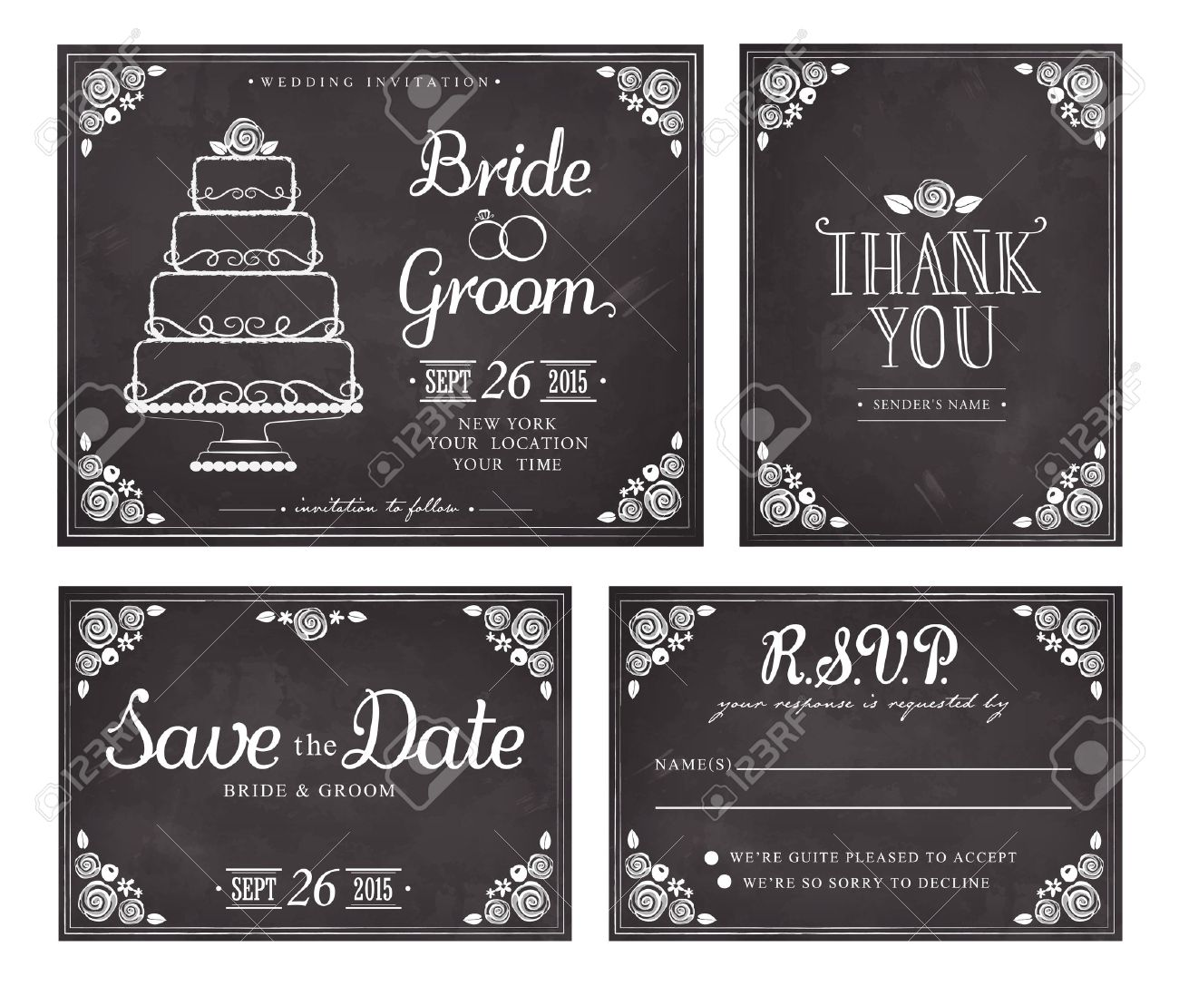 Set of wedding invitation vintage cards save the date thank you imagens set of wedding invitation vintage cards save the date thank you vector response card freehand drawing on the chalkboard stopboris Images