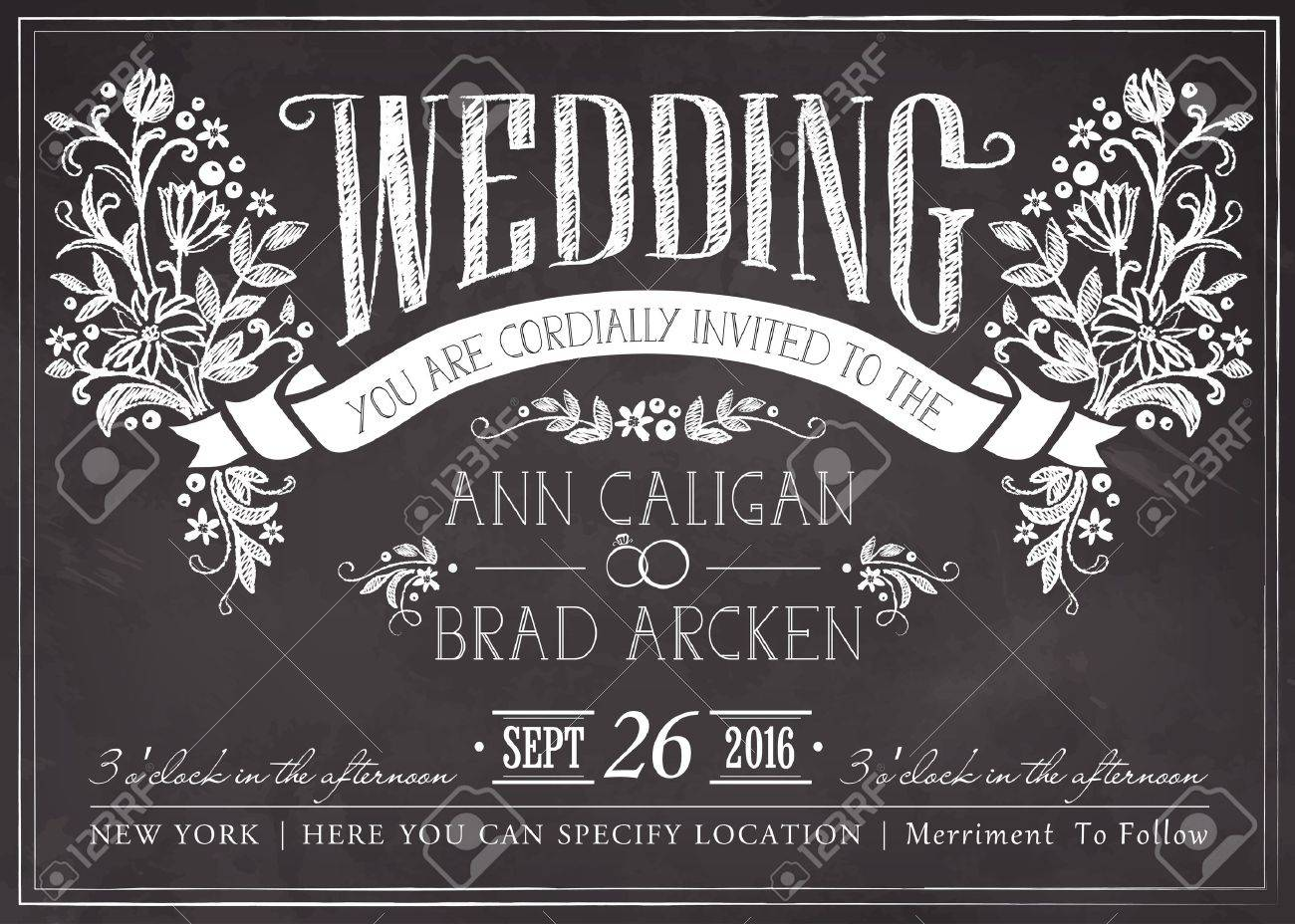 Wedding invitation card with floral background Stock Vector - 45363605