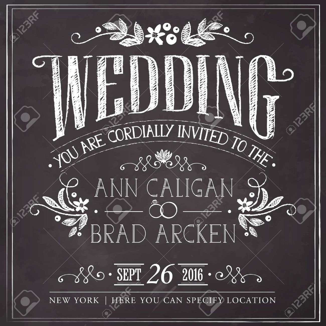 Wedding invitation card. Freehand drawing on the chalkboard - 45363677