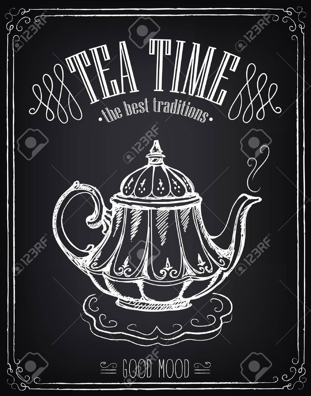 Illustration with the words Tea time and teapot. Freehand drawing with imitation of chalk sketch - 45985684