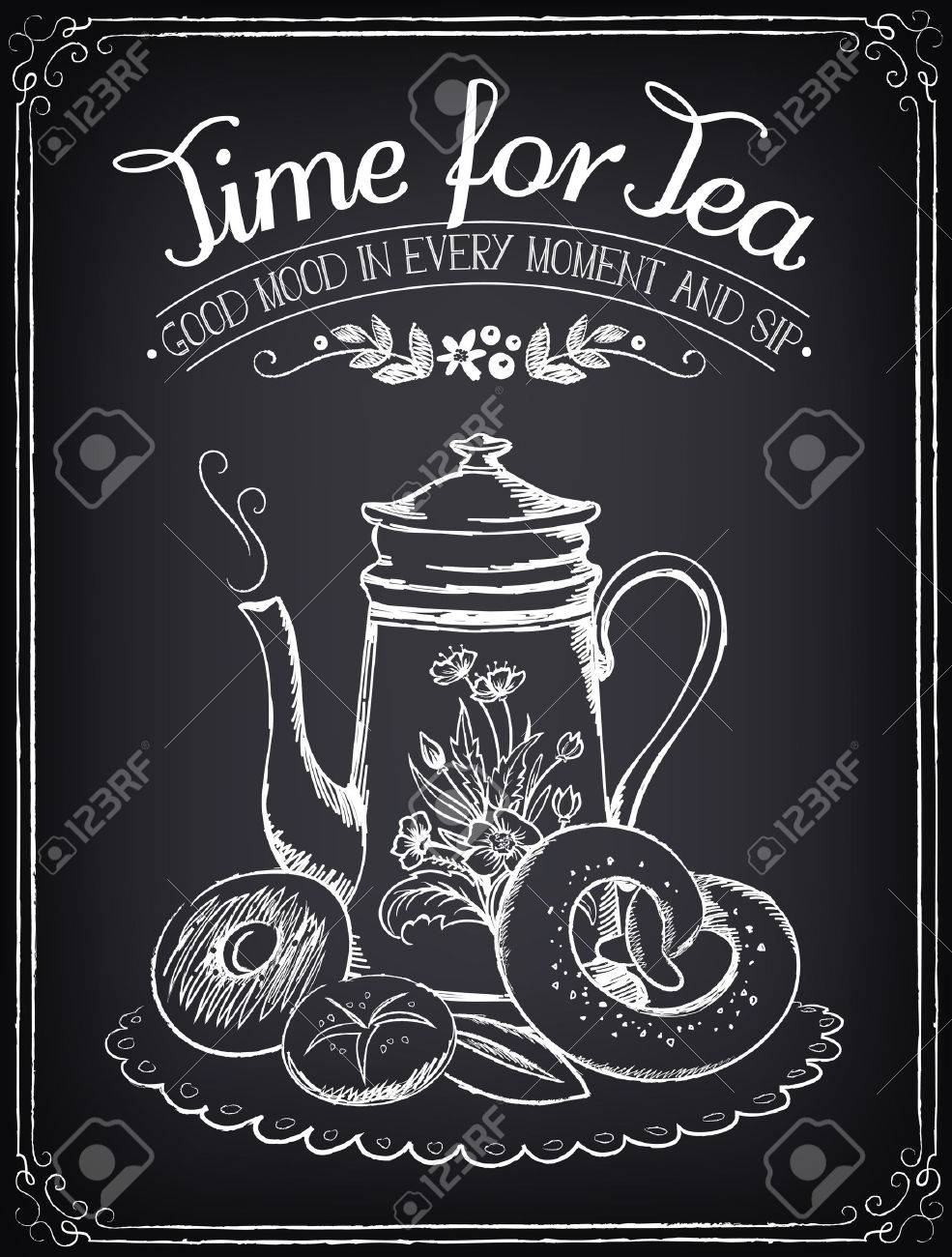 Illustration with the words Time for tea and teapot, bakery. Freehand drawing with imitation of chalk sketch - 45985685