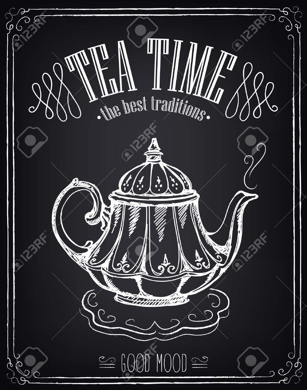 Illustration with the words Tea time and teapot. Freehand drawing with imitation of chalk sketch - 46173864