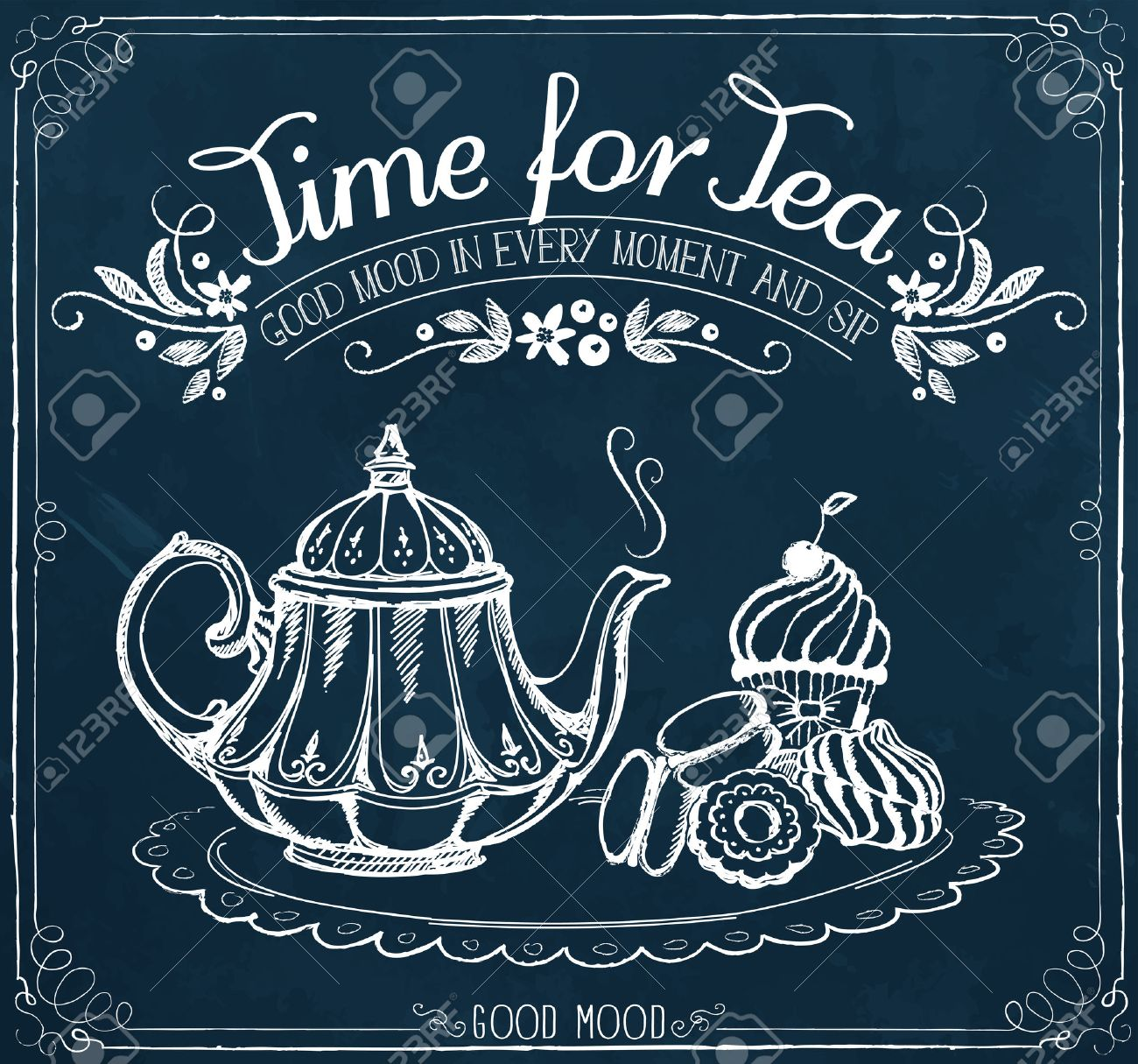 Illustration with the words Time for tea and teapot, sweet pastries. Freehand drawing with imitation of chalk sketch - 46173867