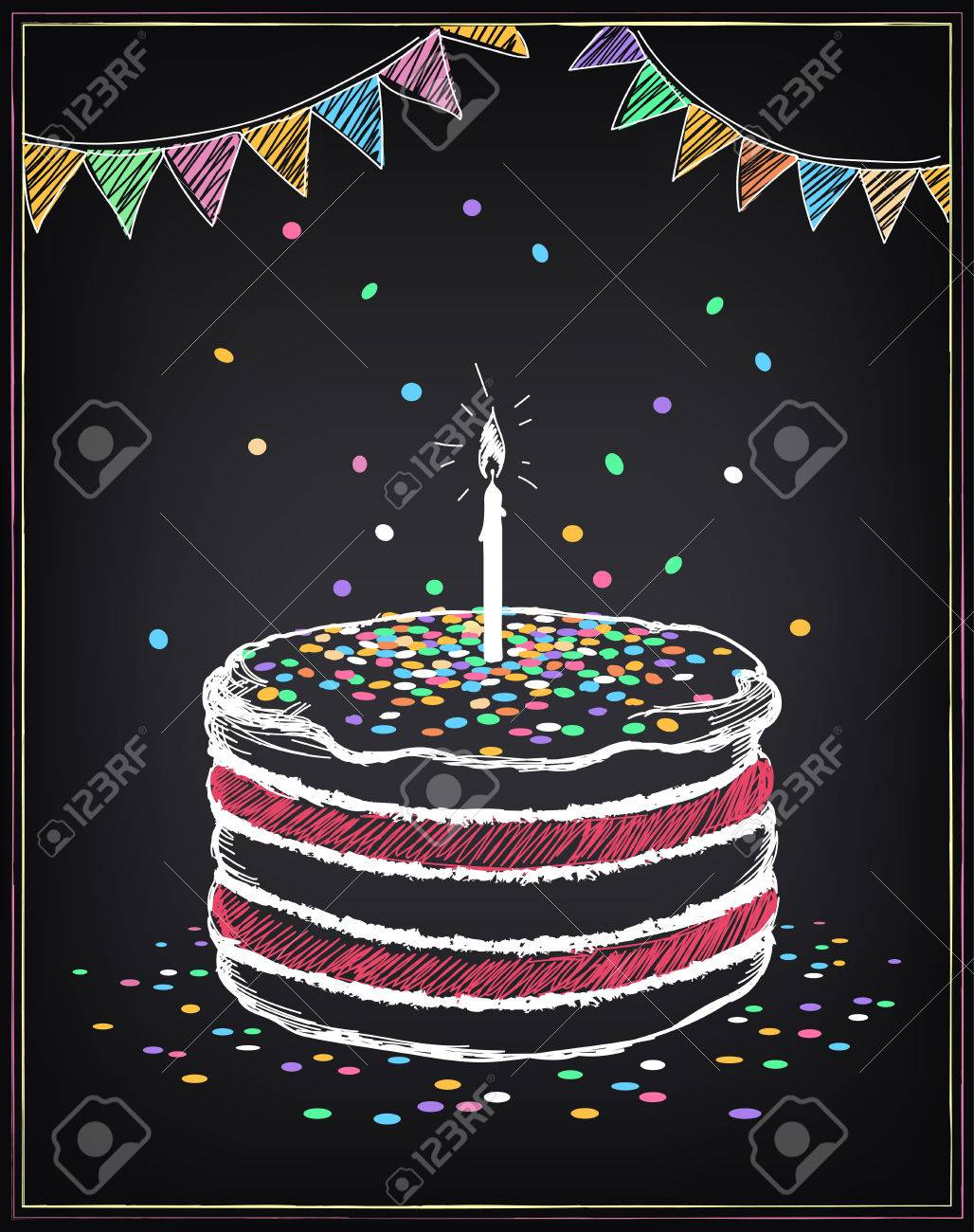 Birthday cake with candle. Festive decorations and confetti. Freehand drawing with imitation of chalk sketch - 50571517