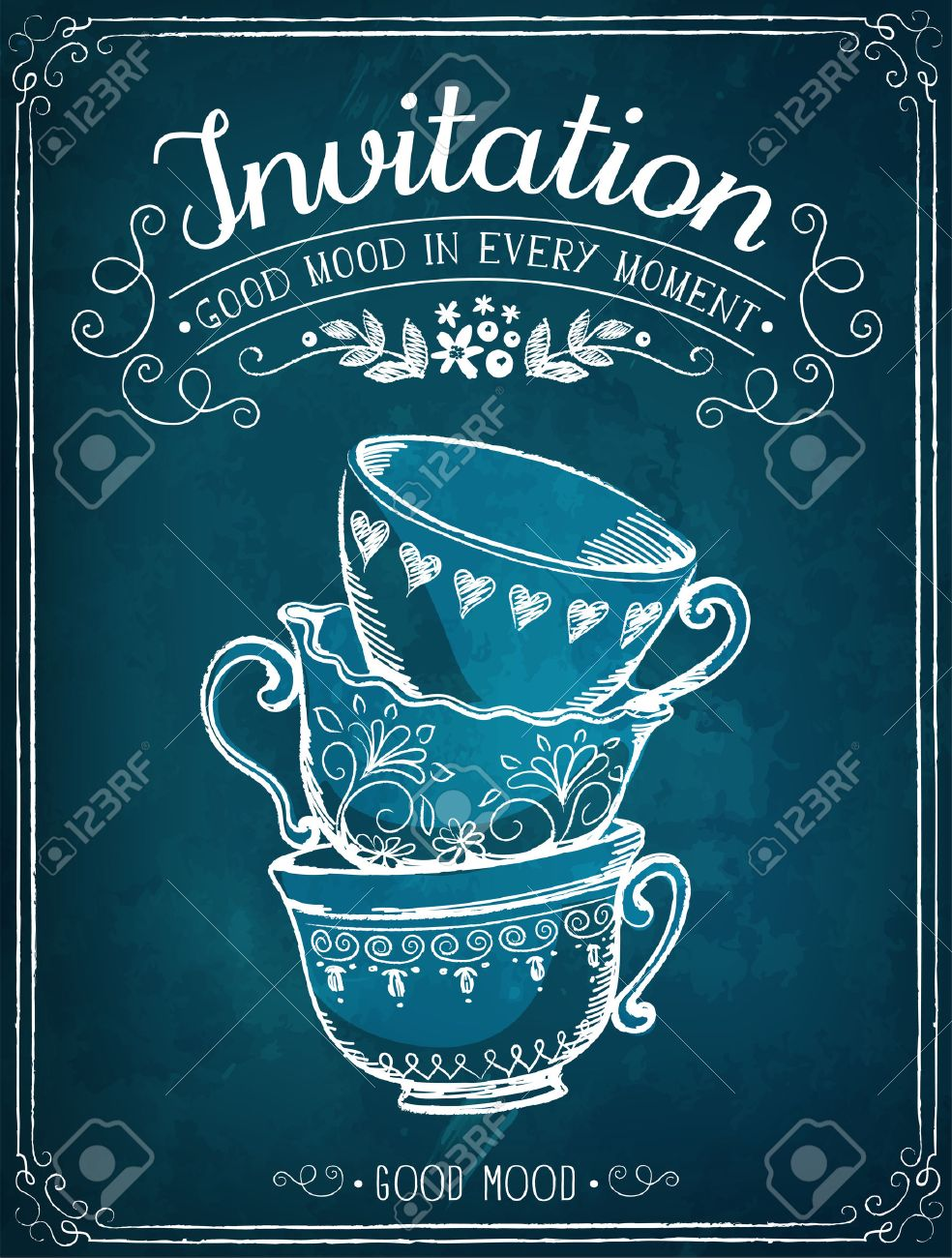 Illustration with the words Invitation and cups. Freehand drawing with imitation of chalk sketch - 50571507