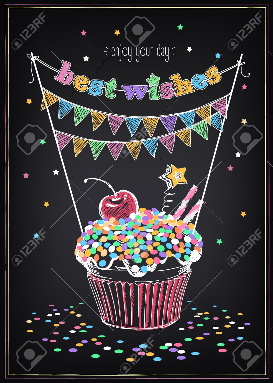 Invitation to the birthday party with a cupcake and confetti. Freehand drawing with imitation of chalk sketch - 51353487
