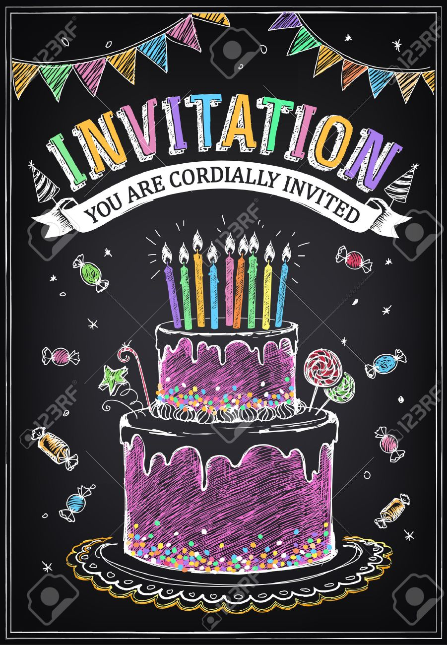 Invitation to the birthday party with a cake, candies and confetti. Freehand drawing with imitation of chalk sketch - 51483390