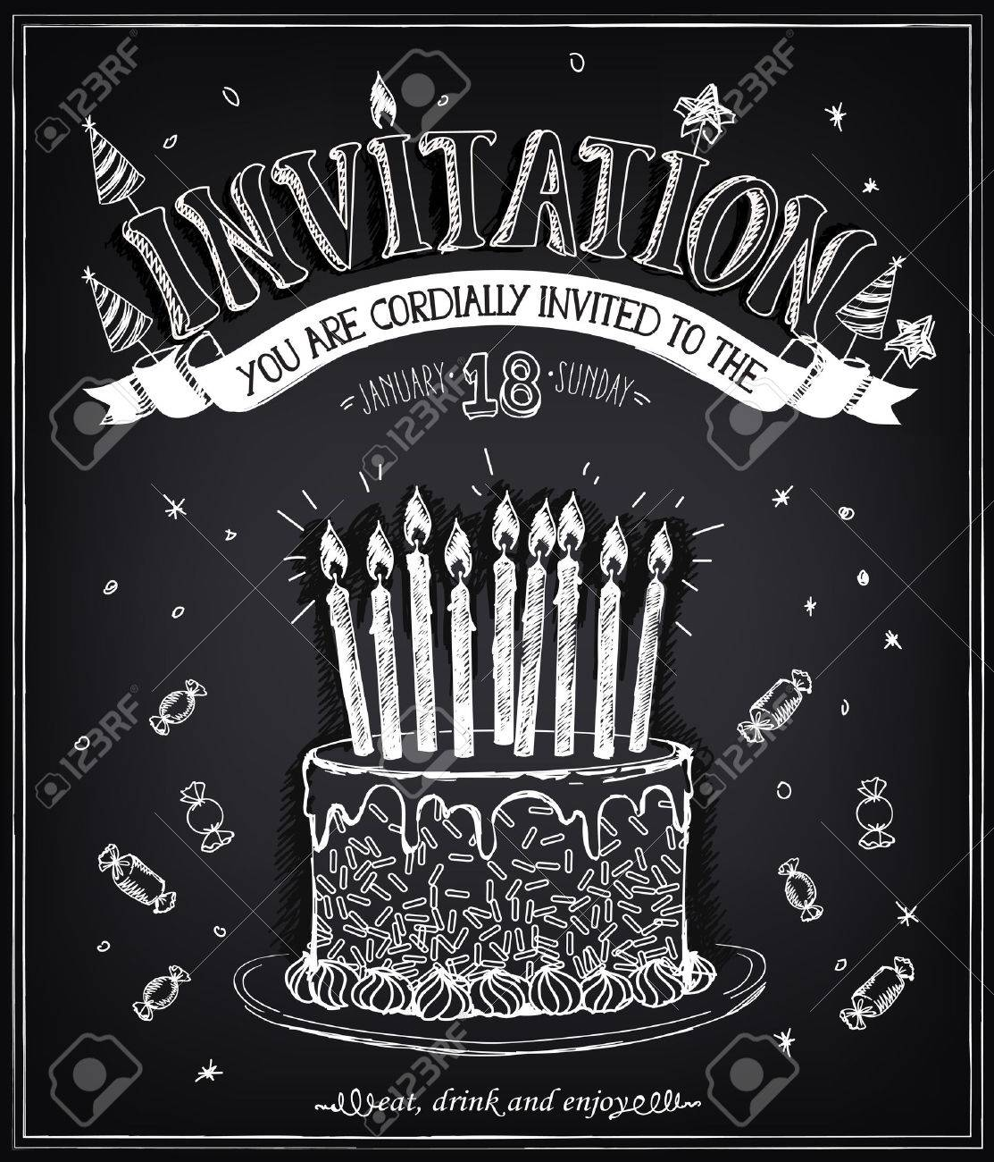 Invitation to the birthday party with a cake, candies and confetti. Freehand drawing with imitation of chalk sketch - 51483391