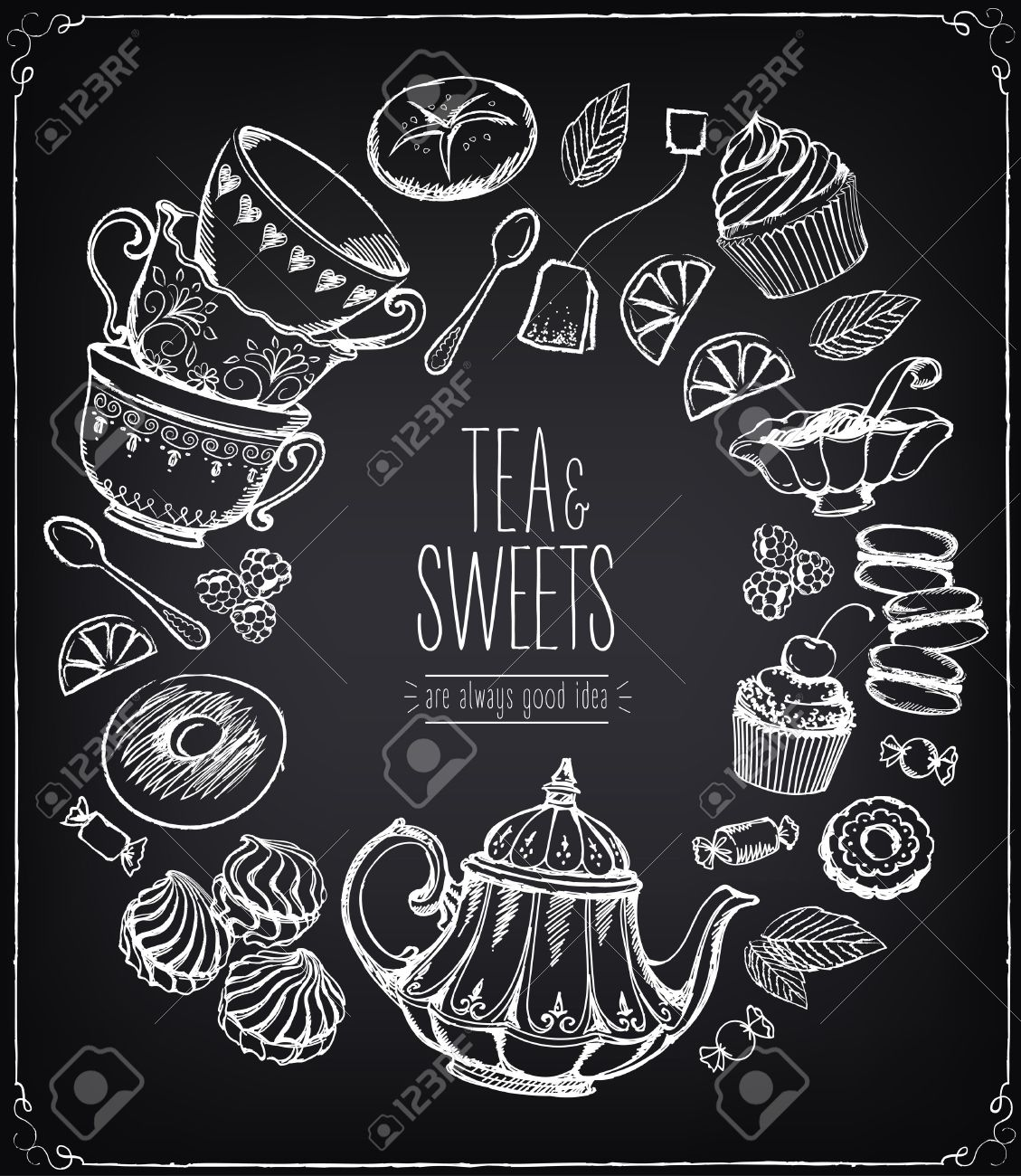 Tea ceremony vector llustration. Tea time, tea leaves, teapot, sweets, bakery, tea tools. Tradition of tea time. Tea time vector symbols. Freehand drawing with imitation of chalk sketch - 52068081