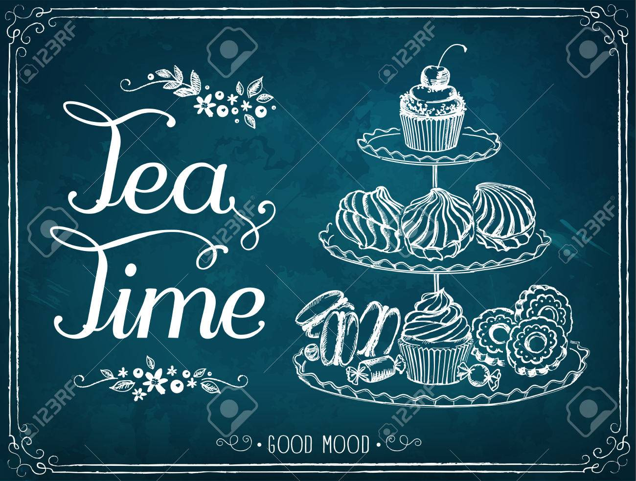 Illustration with the words Tea Time three-tiered stand with sweet pastries. - 51876748