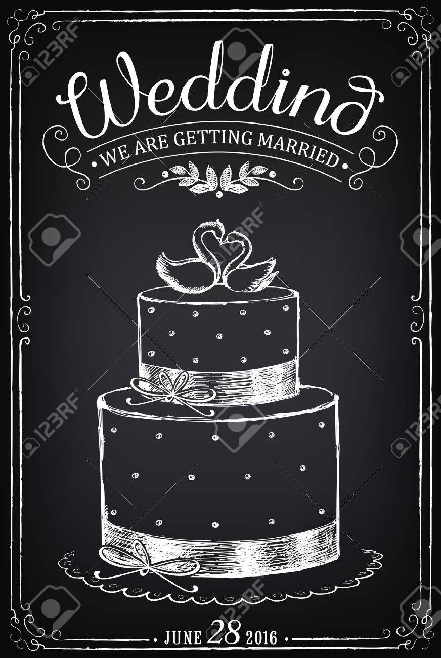 Wedding Invitation Weddind Cake With Toppers Royalty Free Stock Vector