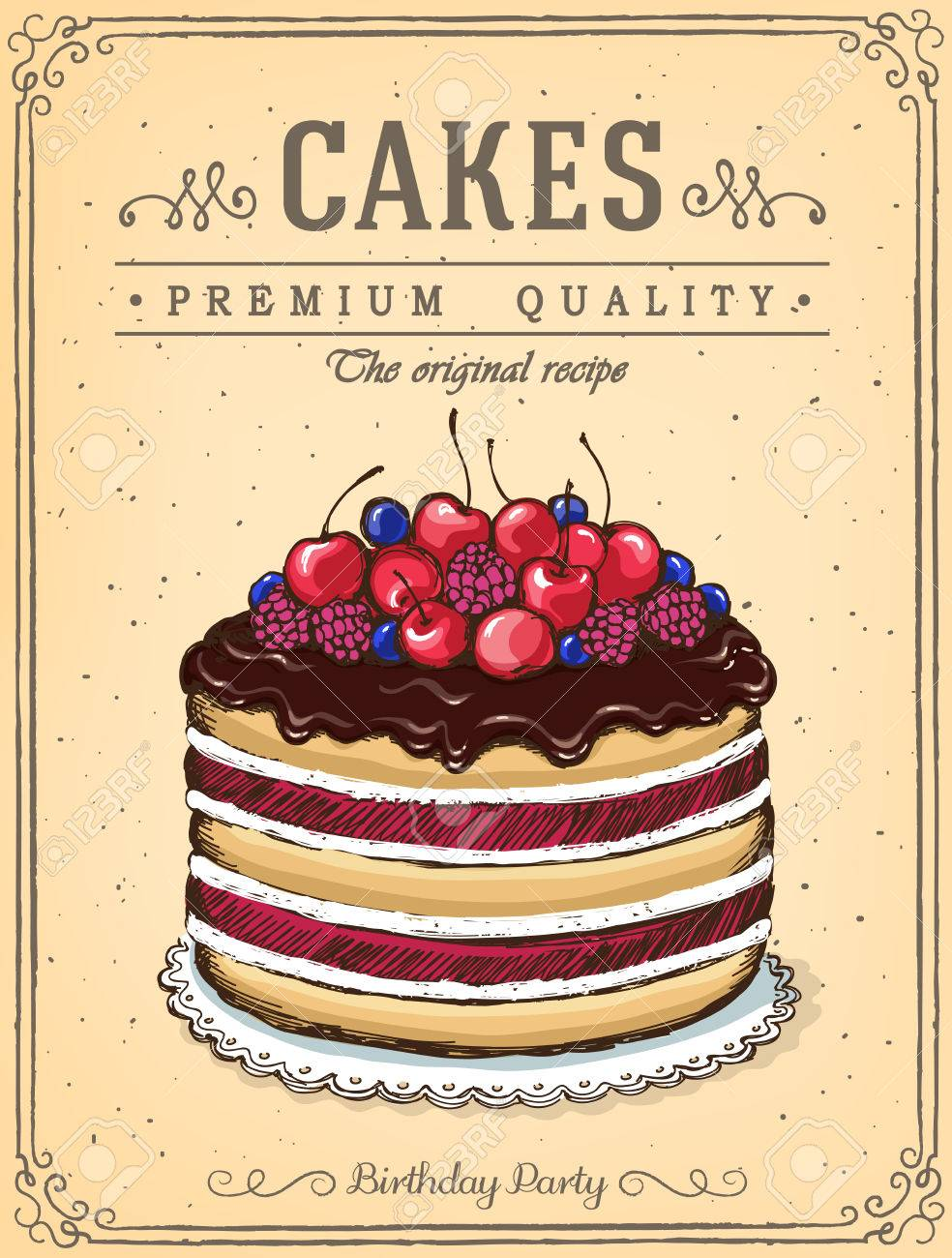 Chocolate Cake With Berries Vintage Poster Best Cakes Imitation