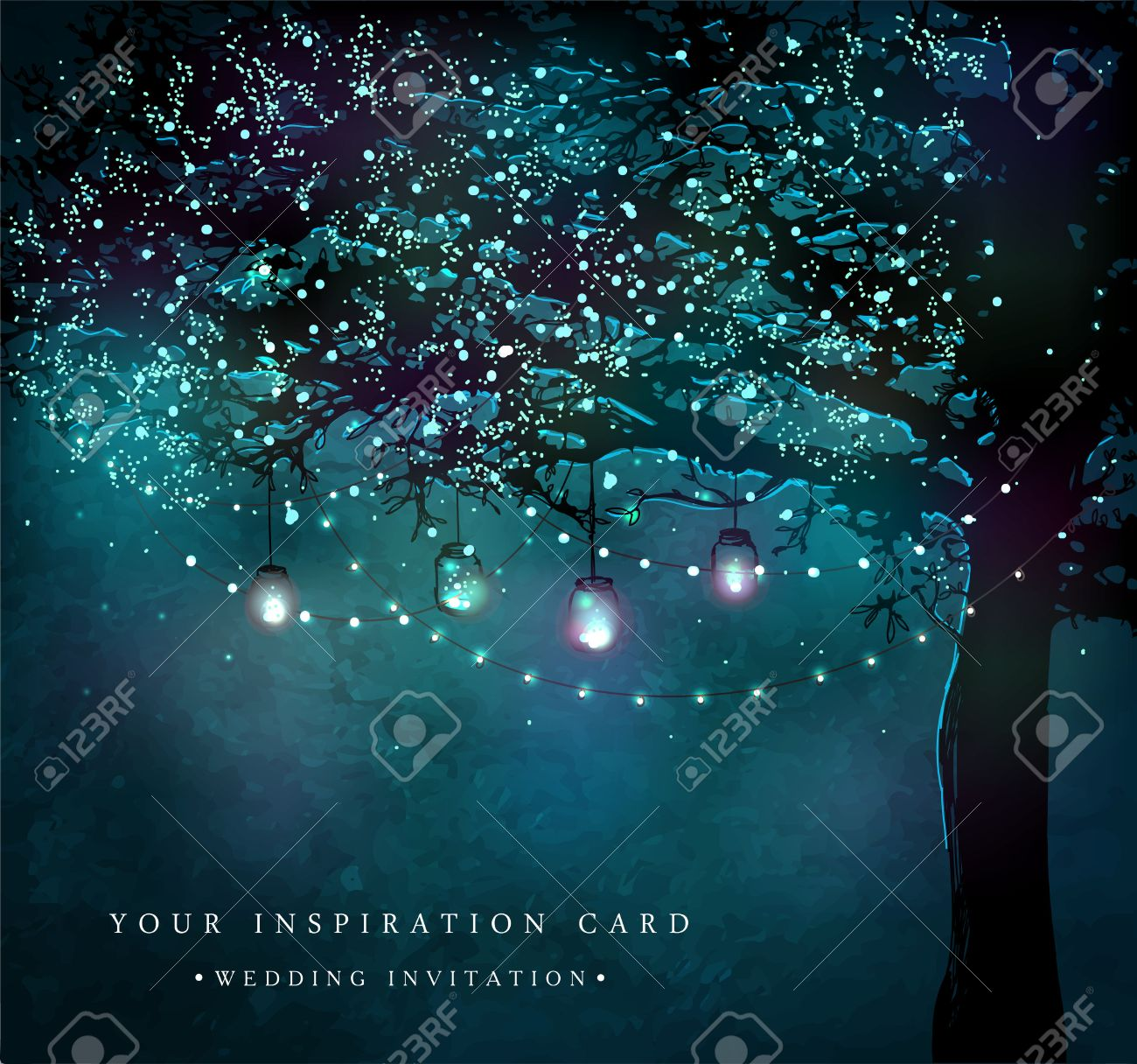 Hanging decorative holiday lights for a party. Garden party invitation. Inspiration card for wedding, date, birthday, tea party - 52799733