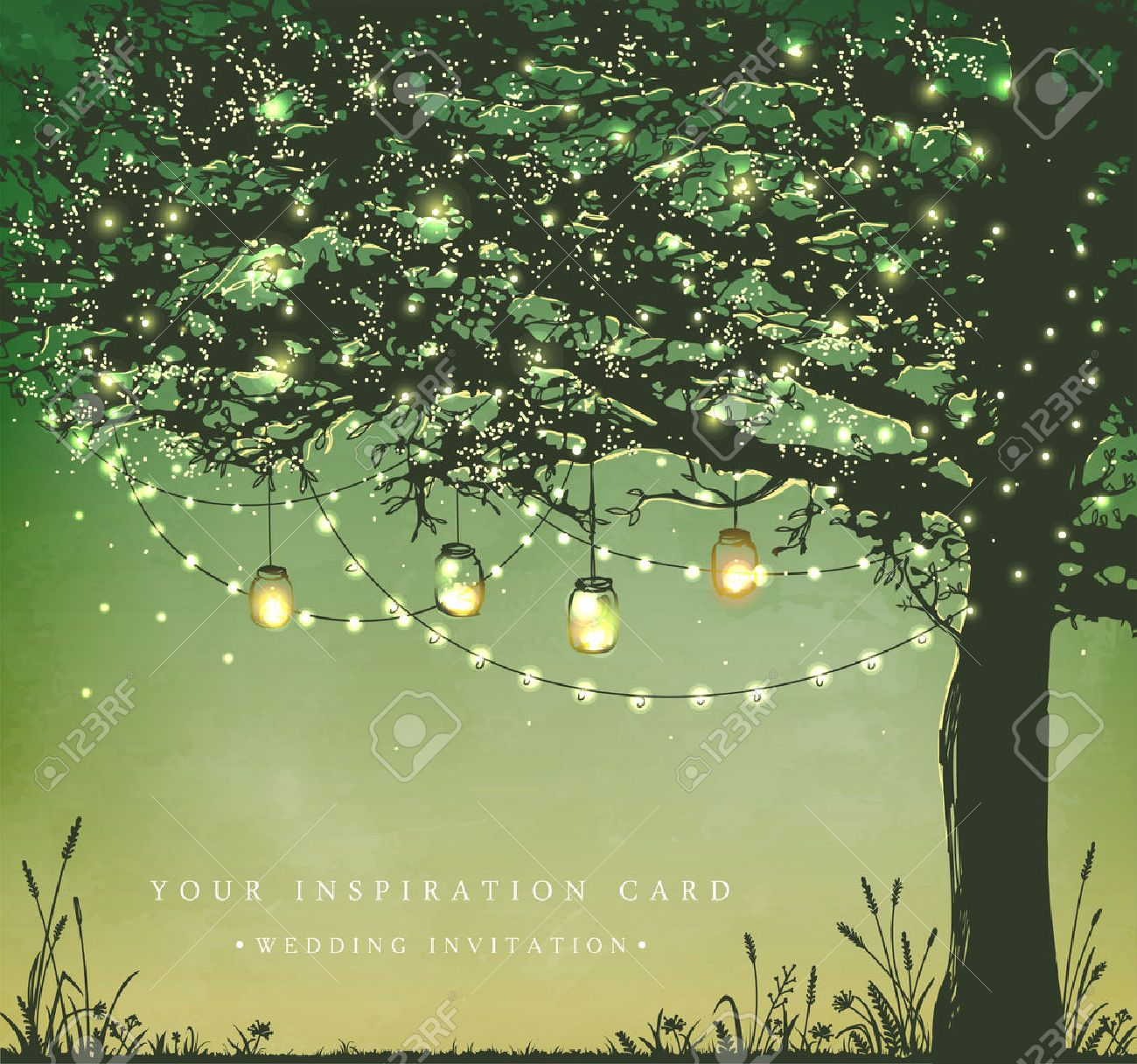 Hanging decorative holiday lights for a back yard party. Garden party invitation. Inspiration card for wedding, date, birthday, tea party - 52799735