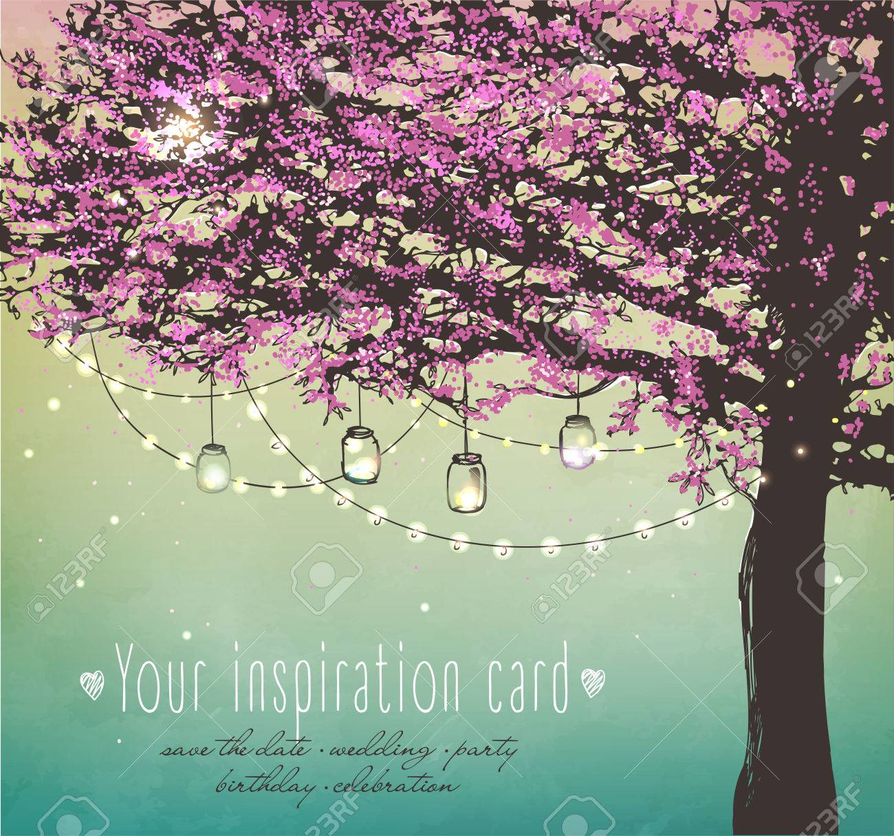 pink tree with decorative lights for party. Garden party invitation. Inspiration card for wedding, date, birthday, tea party - 52799738