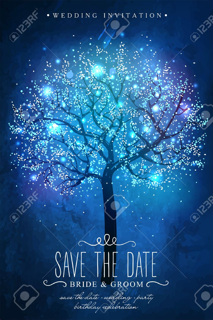 Save the Date. magic tree. Inspiration card for wedding celebration, date, birthday party. Wedding invitation - 52799741