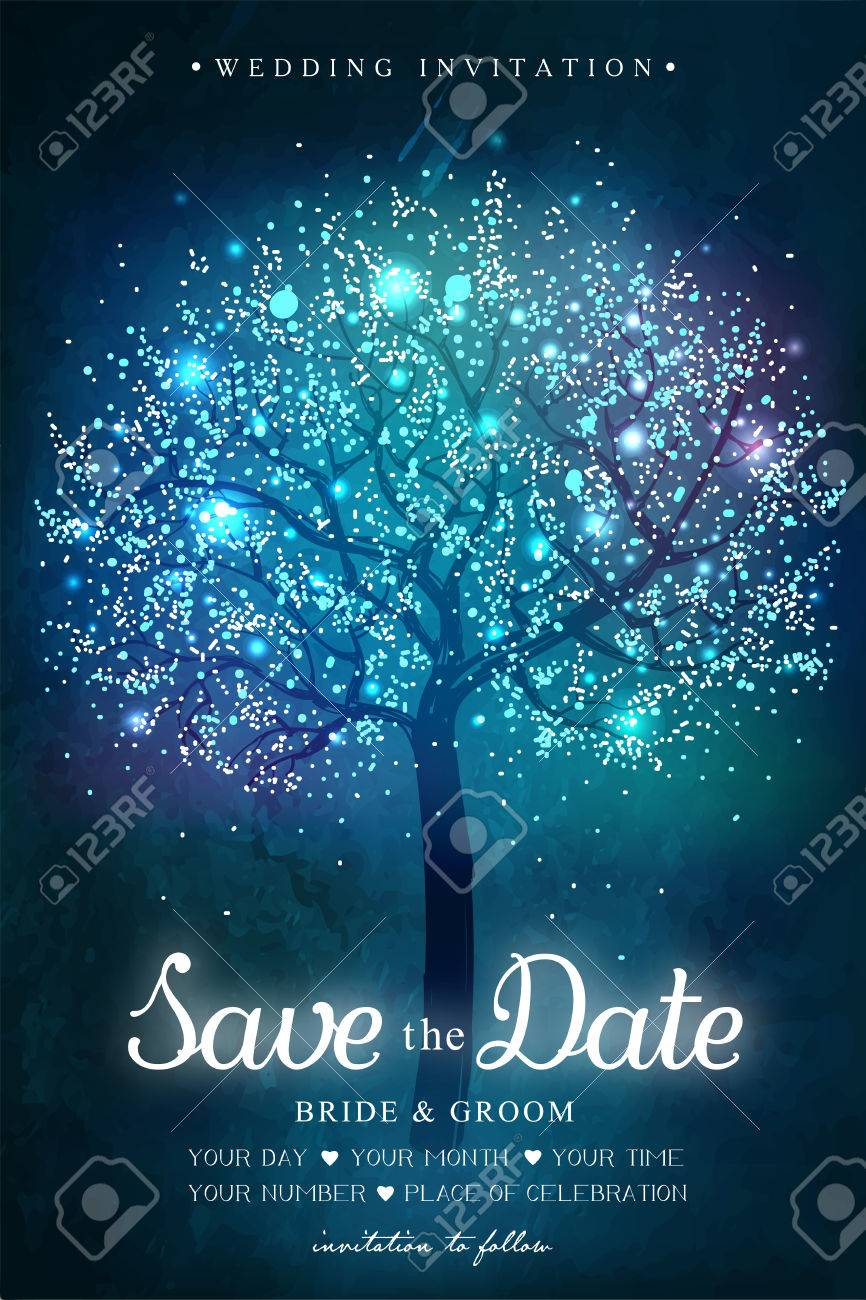 Wedding invitation card. Inspiration card for wedding, date, birthday, tea party. Magic tree with lights - 52799737