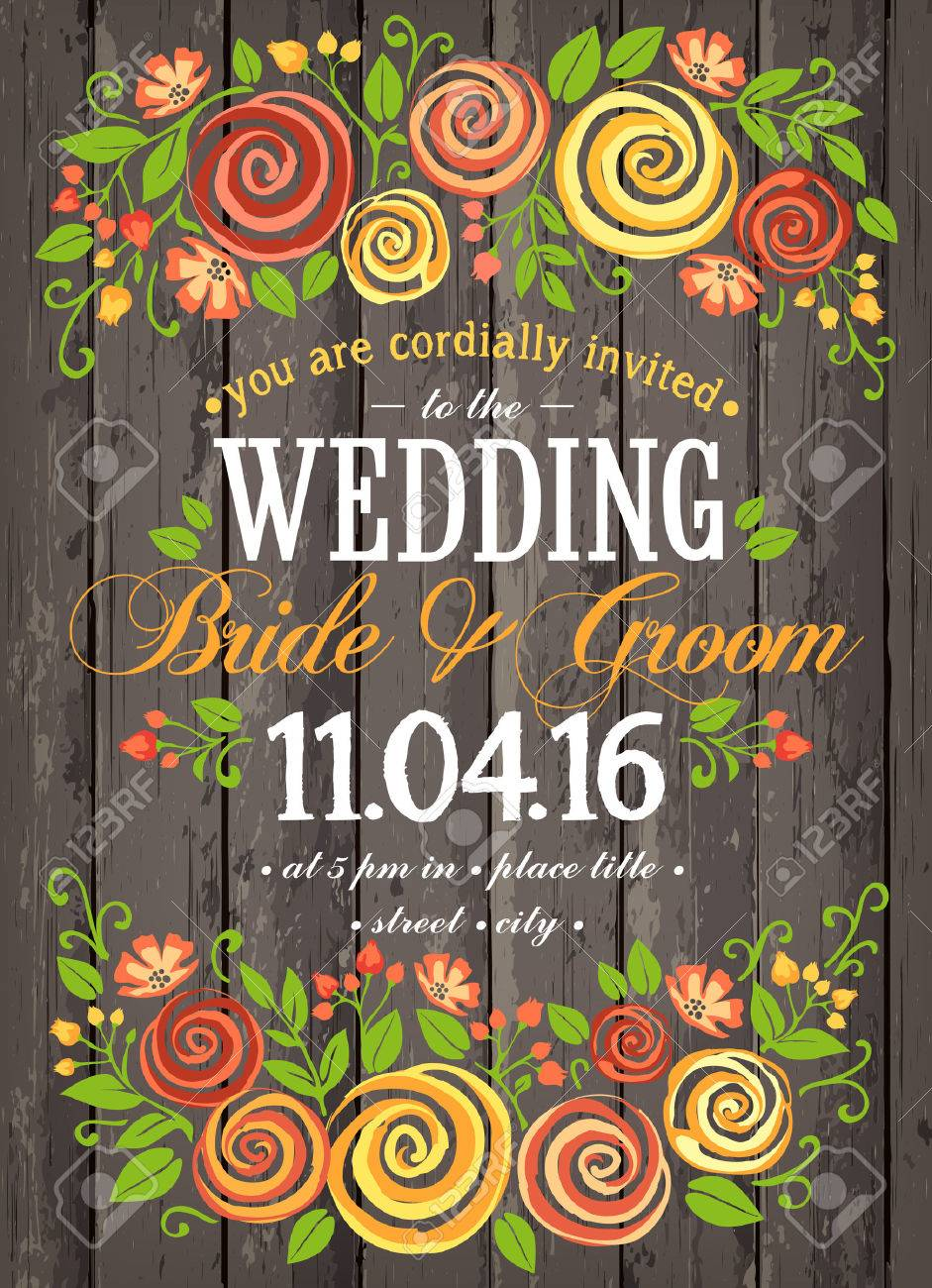 Wedding invitation card with beuty floral background. Inspiration card for wedding, date, birthday, tea or garden party - 54192156