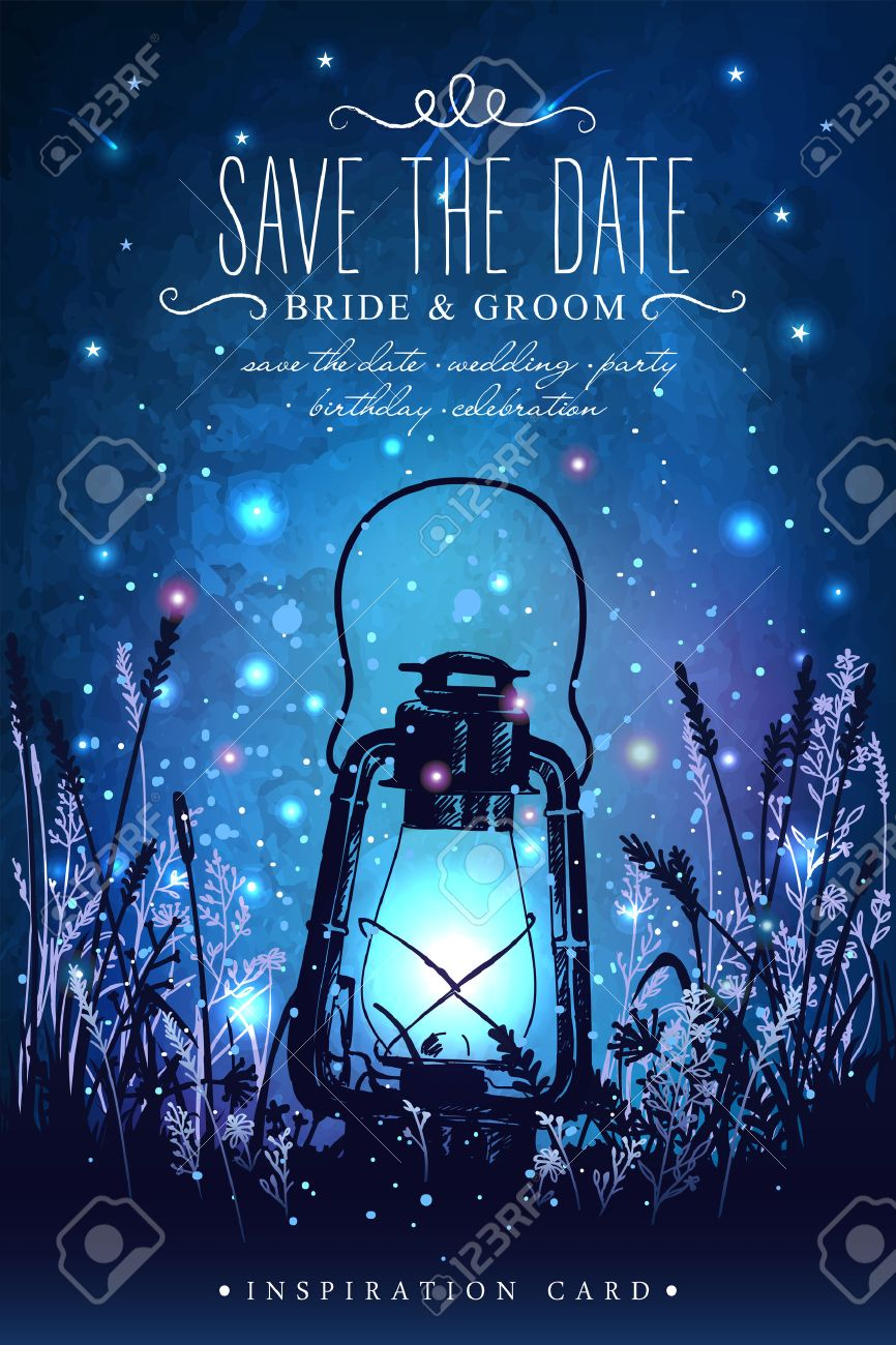 Amazing vintage lanten on grass with magical lights of fireflies at night sky background. Unusual vector illustration. Inspiration card for wedding, date, birthday, tea or garden party - 54192159