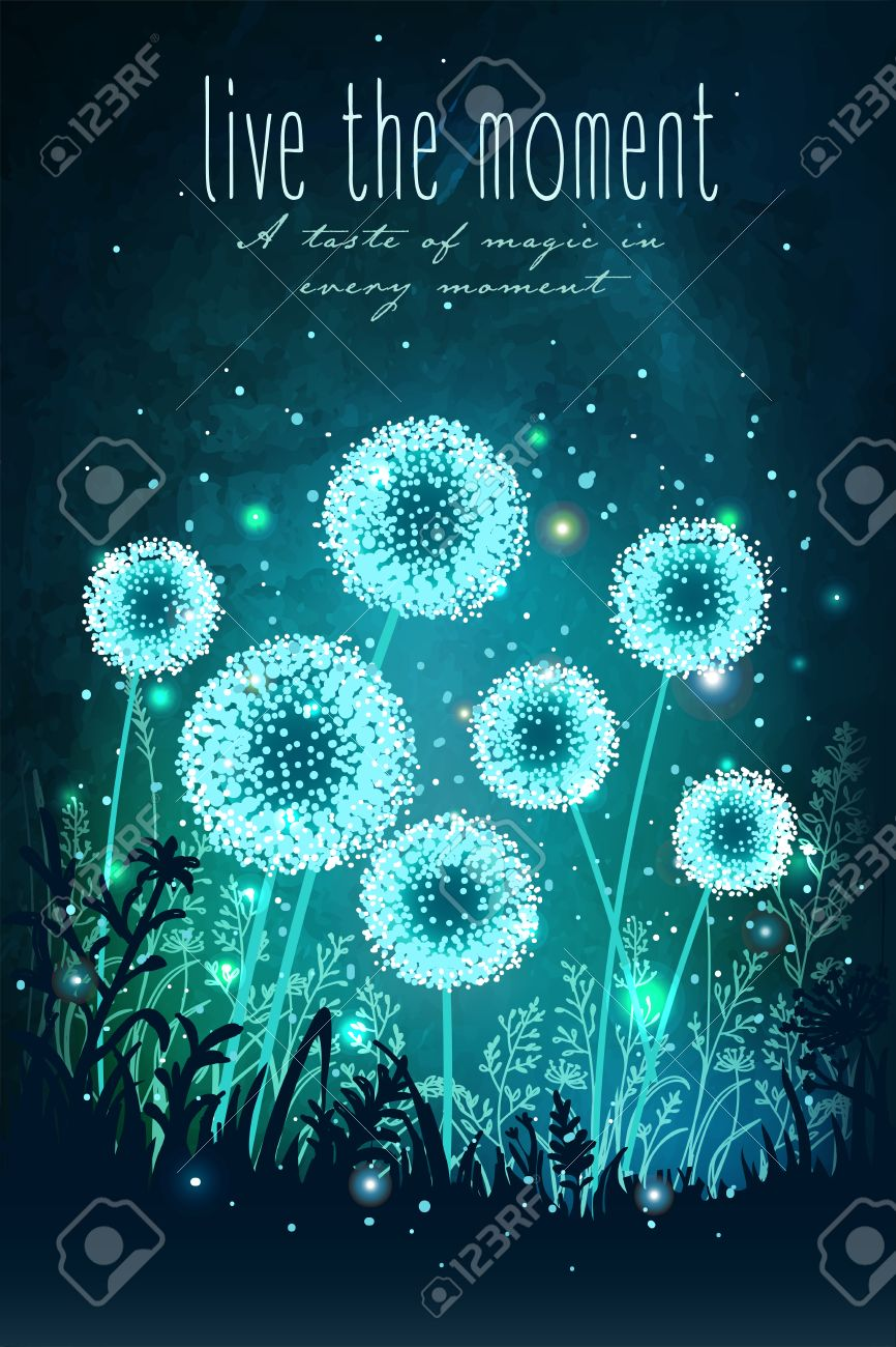Amazing dandelions with magical lights of fireflies at night sky background. Unusual vector illustration. Inspiration card for wedding, date, birthday, holiday or garden party - 54192164