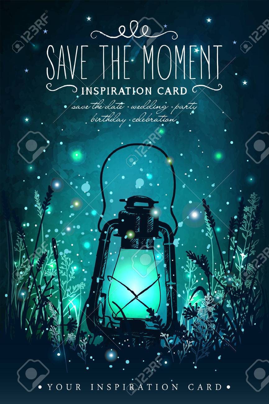 Amazing vintage lanten on grass with magical lights of fireflies at night sky background. Unusual vector illustration. Inspiration card for wedding, date, birthday, tea or garden party - 54192167