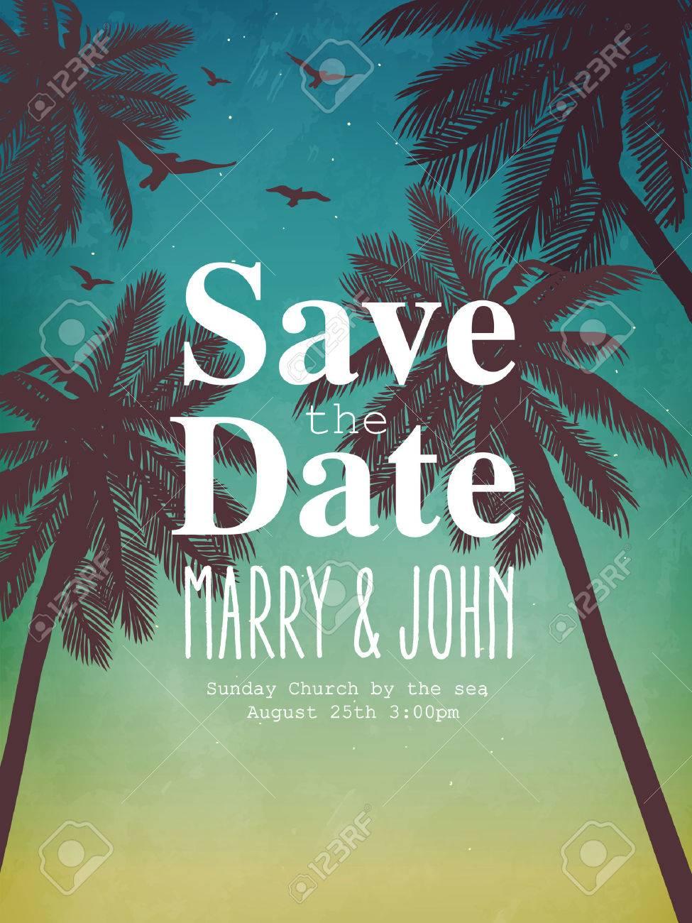 Hochzeit, Datum, Geburtstag, Urlaub, Strand Party Einladung