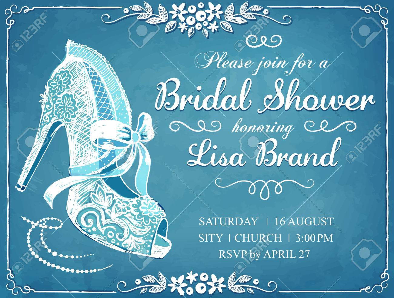 Bridal Shower Invitation Card With Beautiful Lace Bride S Shoe