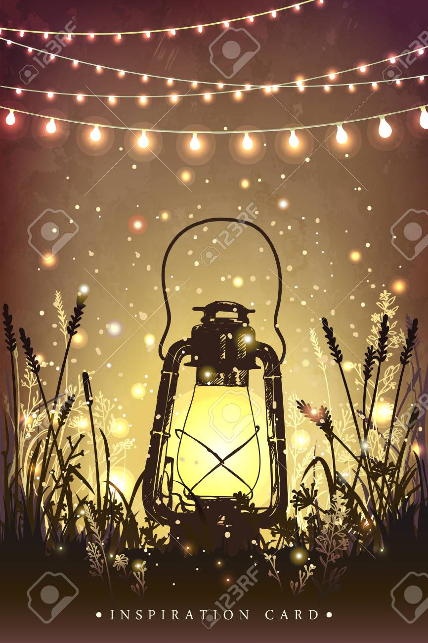 Amazing vintage lanten on grass with magical lights of fireflies at night sky background. Unusual illustration. Inspiration card for wedding, date, birthday, tea or garden party - 55161055